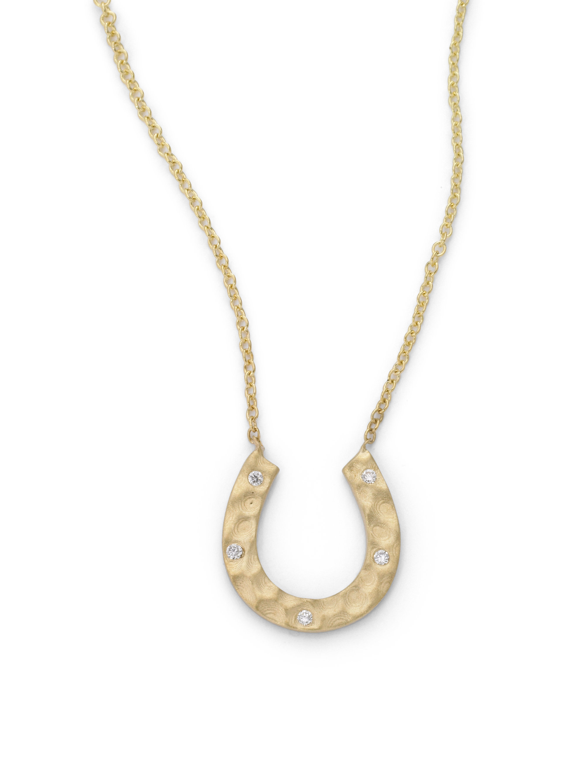 kc designs hammered horseshoe pendant necklace in