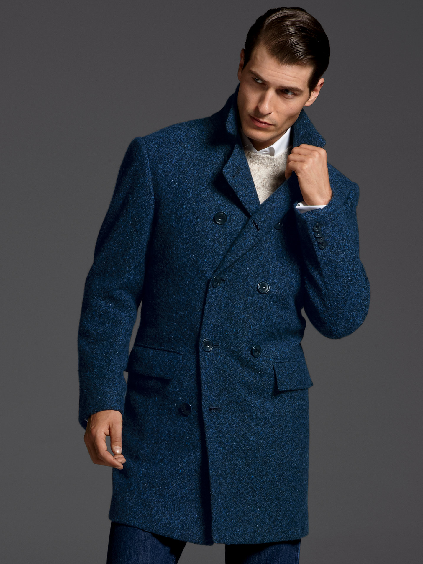 Lyst Kiton Boucle Overcoat In Blue For Men