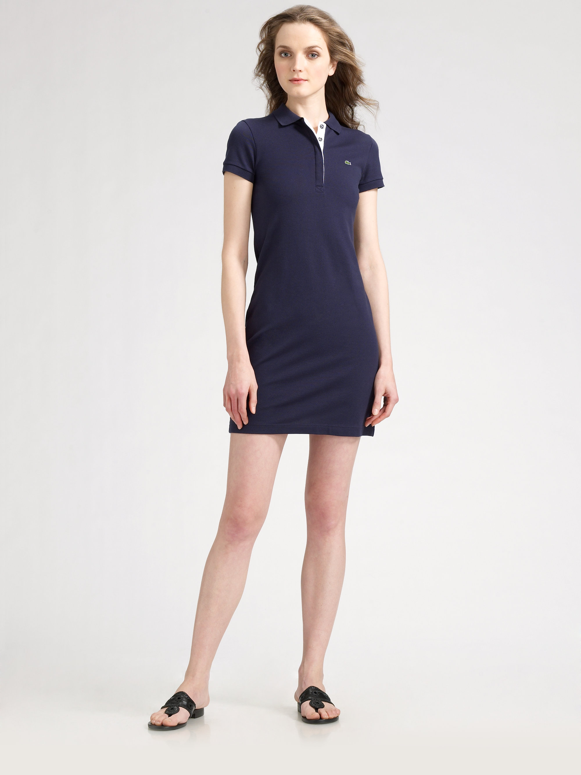 lacoste polo shirtdress in blue lyst