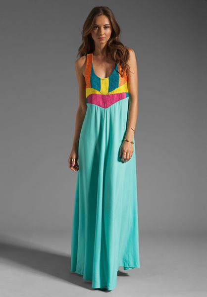 Mara Hoffman Corded Tank Maxi Dress in Multicolor (mint)