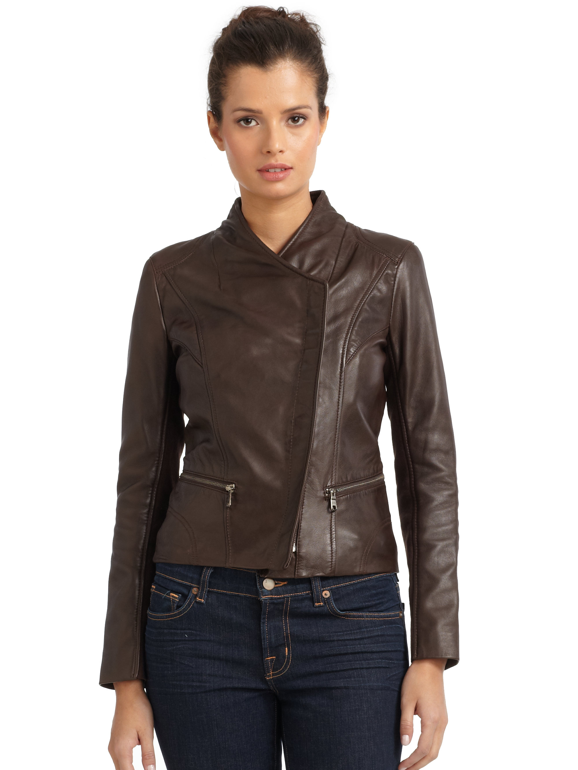 Lyst Marc New York Tess Leather Jacket In Brown