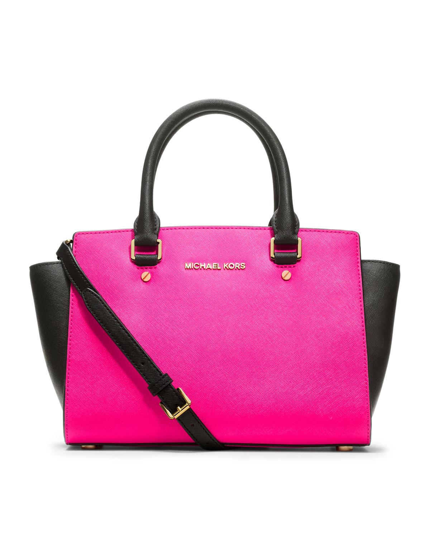 b78ebd2993df5 ... discount lyst michael michael kors medium selma saffiano satchel in  pink 59ab6 7b0c6