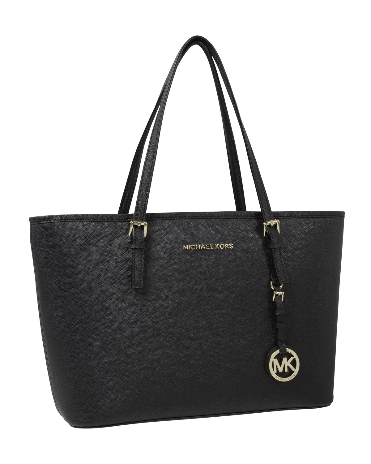 michael kors jet set saffiano ipad travel tote in black lyst. Black Bedroom Furniture Sets. Home Design Ideas