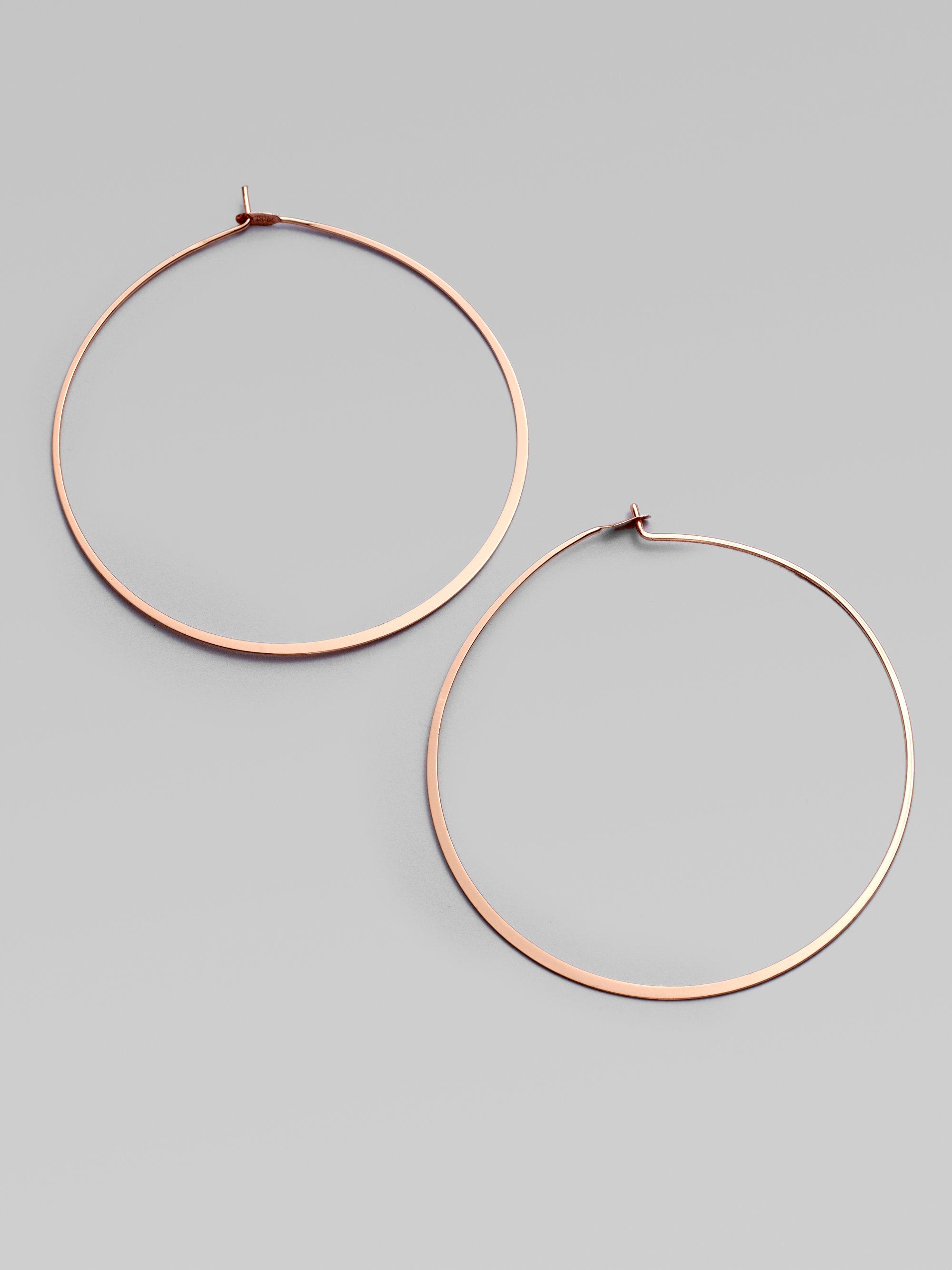 Michael Kors Heritage Thin Whisper Rose Goldtone Hoop Earrings