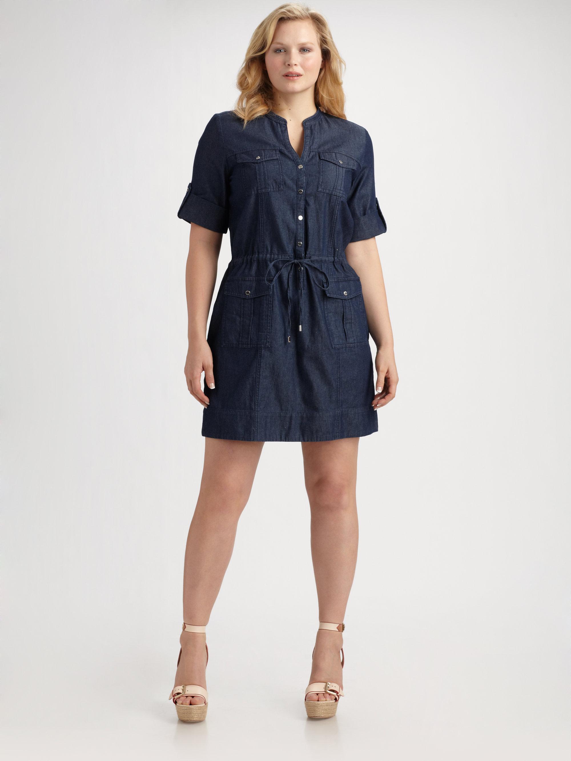 Lyst Michael Michael Kors Denim Shirt Dress In Blue