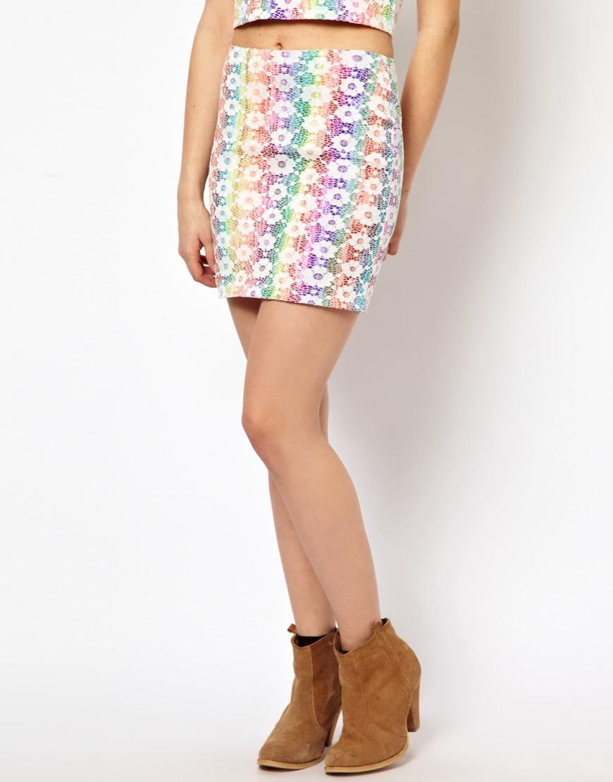 minkpink tomorrow land mini skirt in rainbow mesh lyst