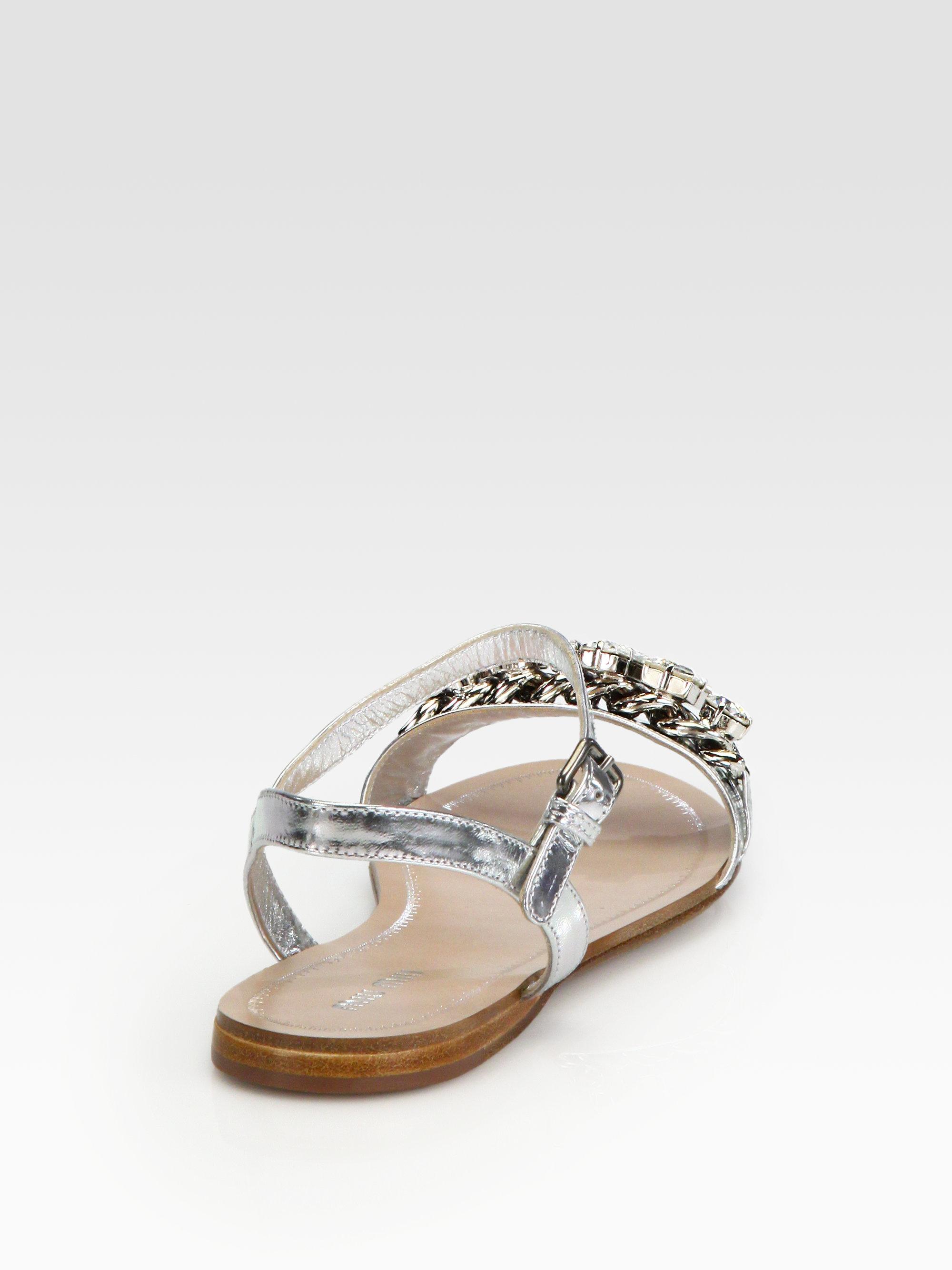 Lyst Miu Miu Jeweled Capretto Lam 233 Metallic Leather Sandals