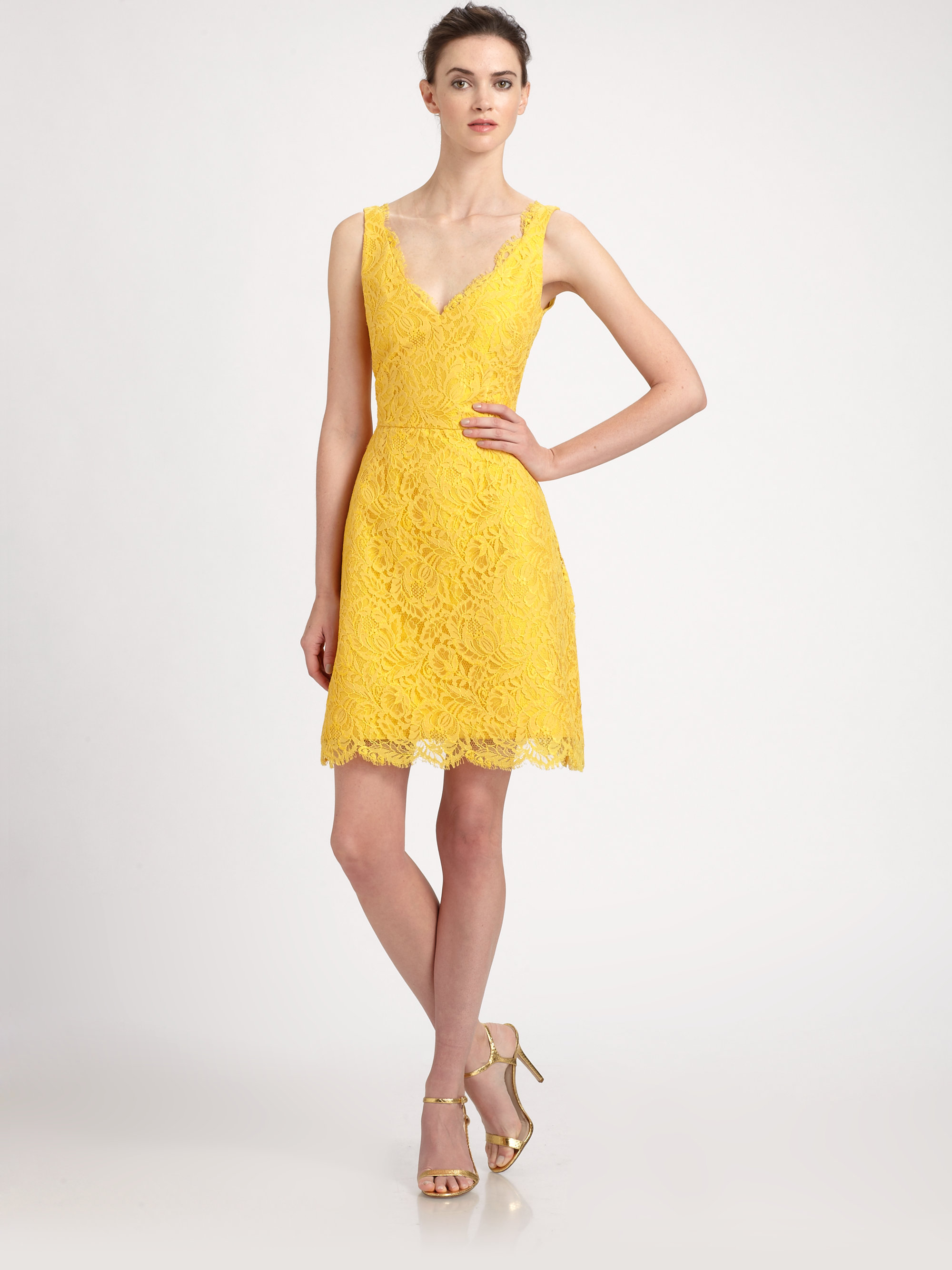 Lyst - Ml monique lhuillier Lace Dress in Yellow