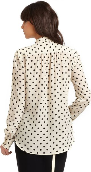 Moschino Silk Polka Dot Tie Neck Blouse In Black Cream