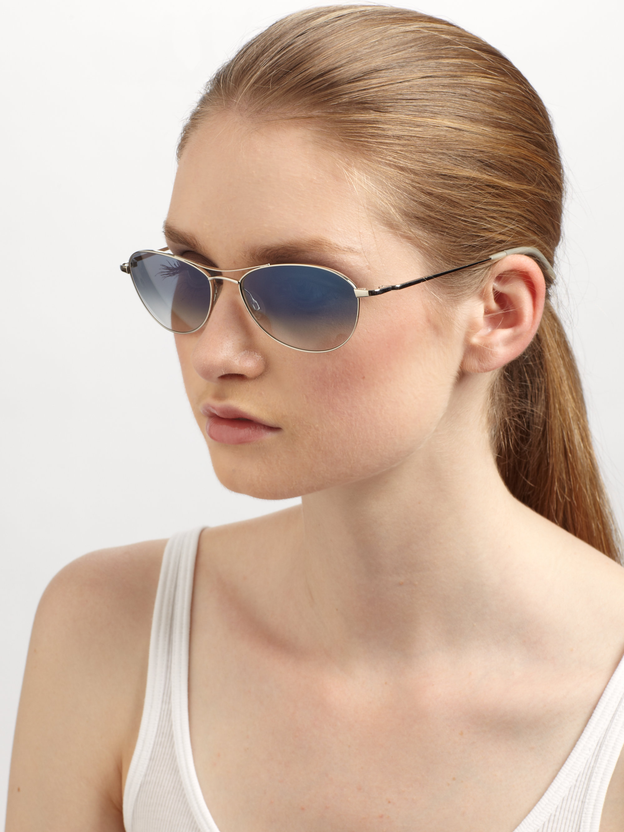Oliver Peoples Benedict 59mm Aviator Sunglasses In Blue Lyst