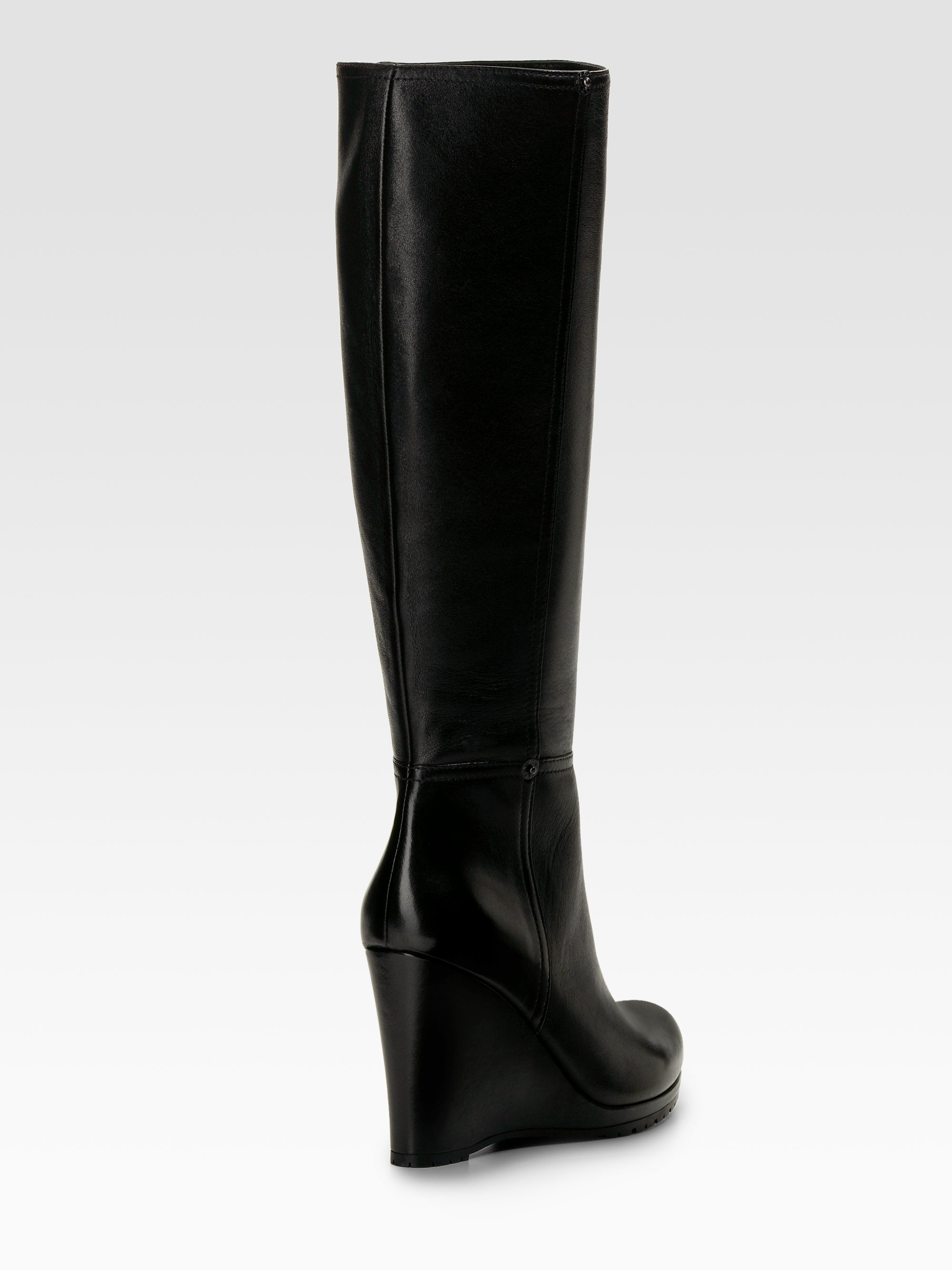 prada wedge boots in black lyst