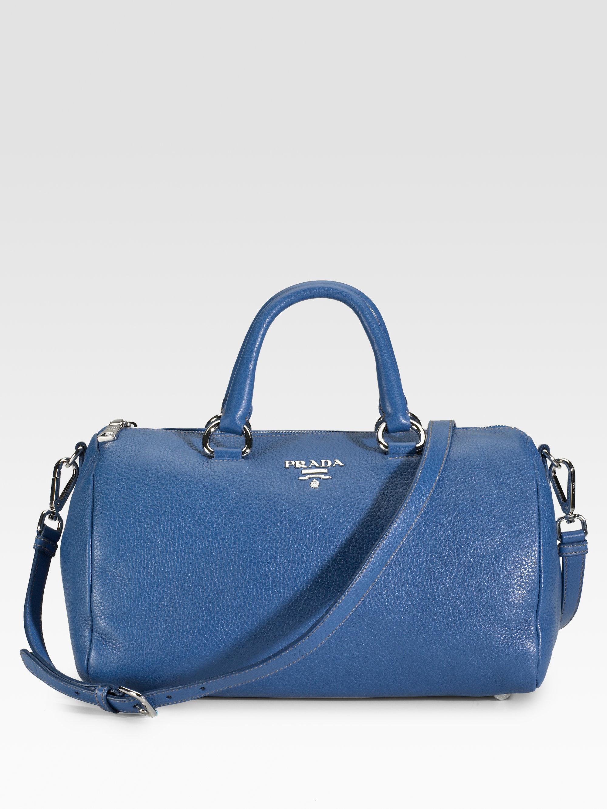 Prada Pebbled Leather Round Satchel in Blue (brown) | Lyst