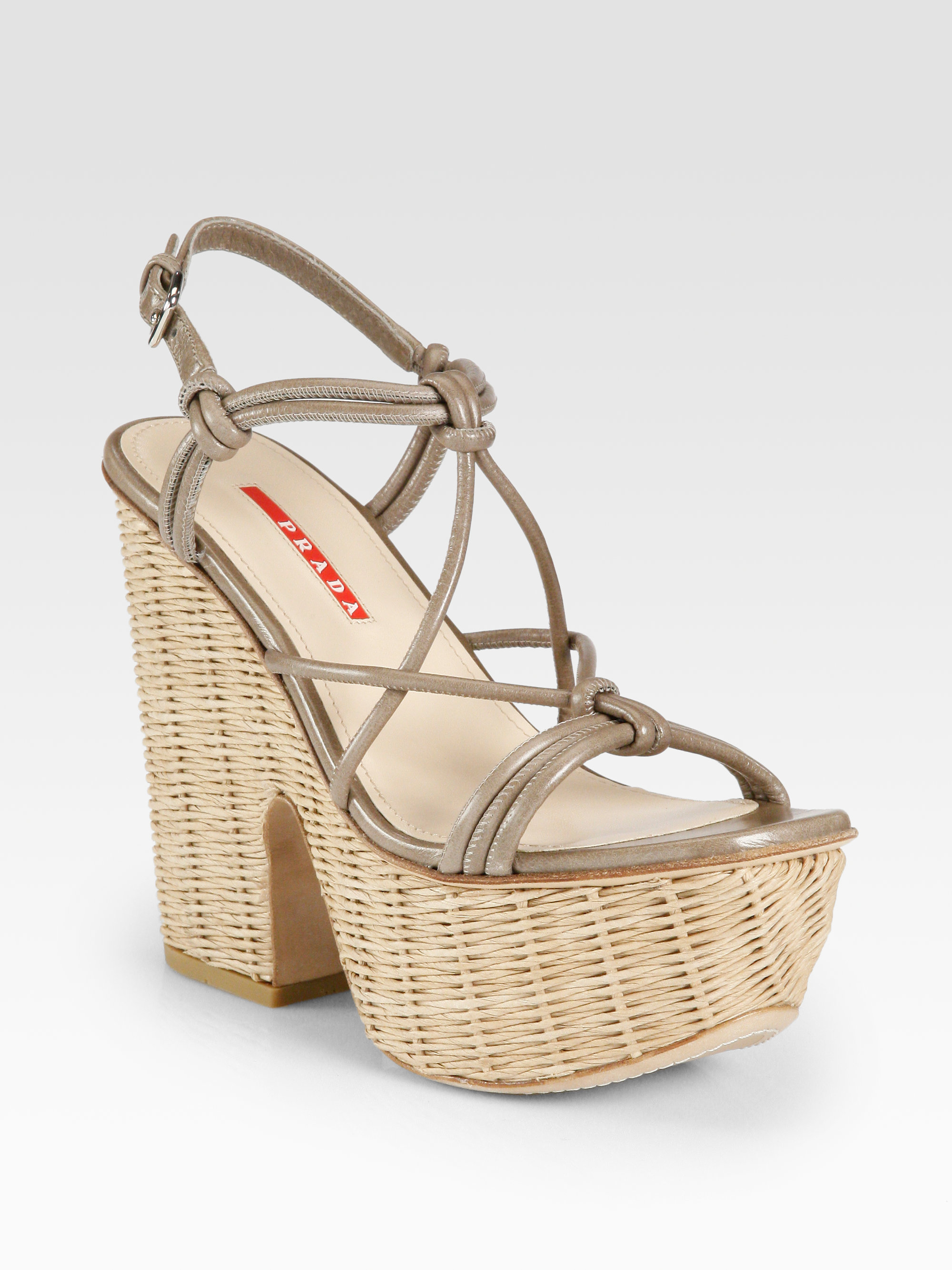 Lyst Prada Leather Raffia Platform Sandals In Gray