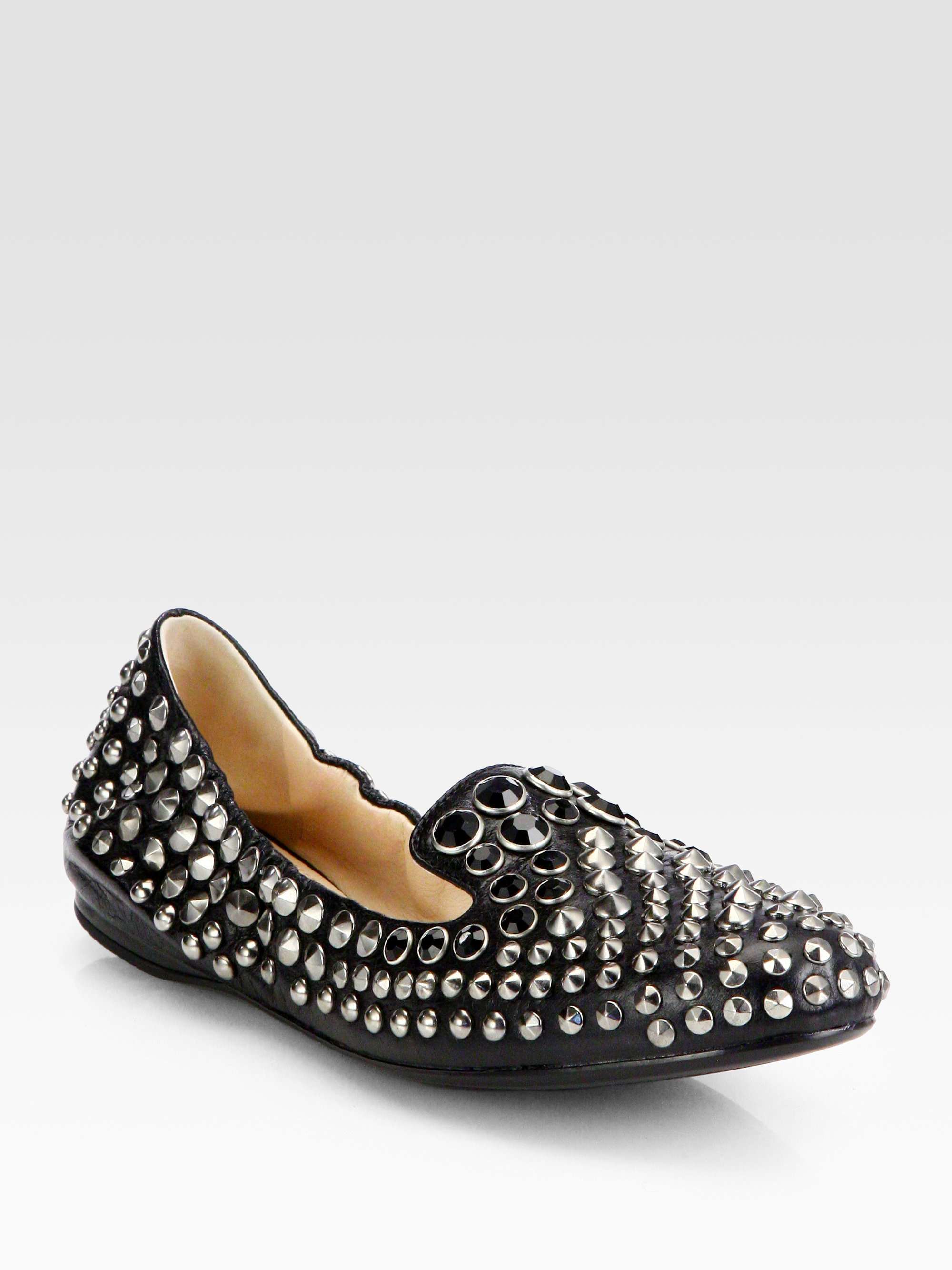 094d937a943c Lyst - Prada Studded Leather Smoking Slippers in Black