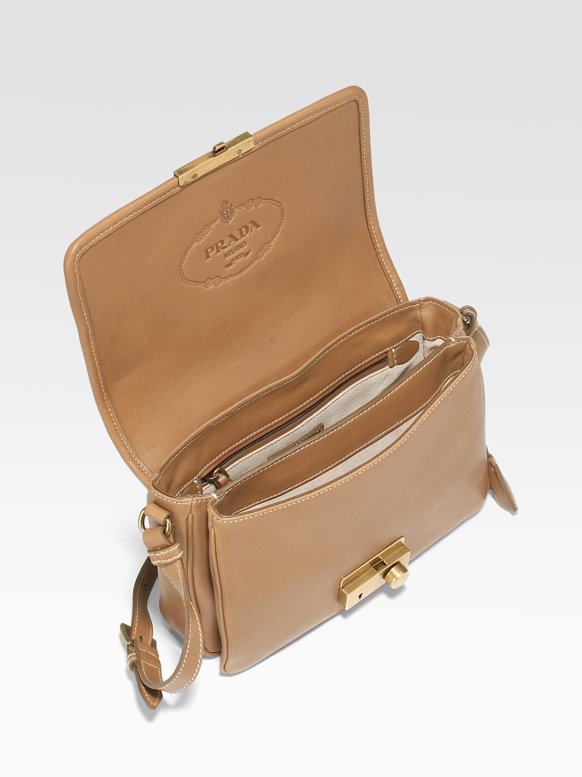 Prada City Calfskin Small Flap Shoulder Bag in Brown (tan) | Lyst