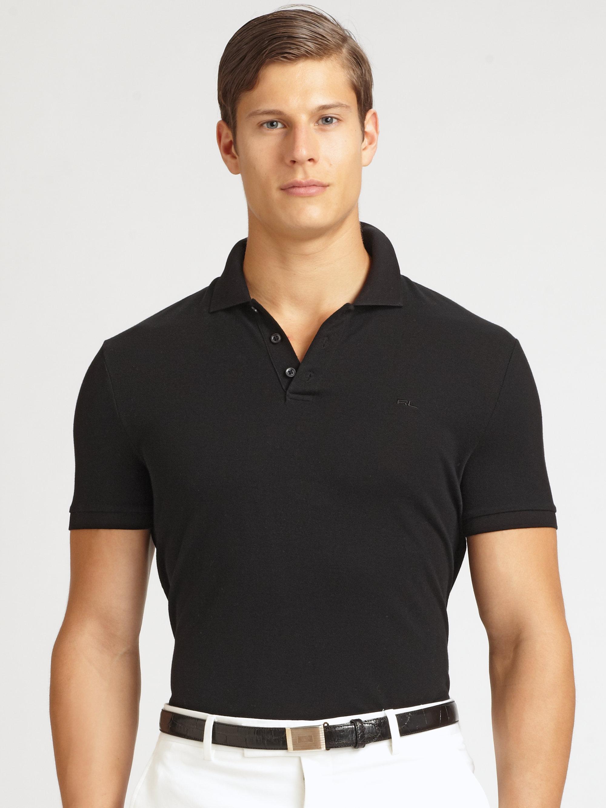 Ralph lauren black label solid mesh knit polo in black for for Ralph lauren black label polo shirt