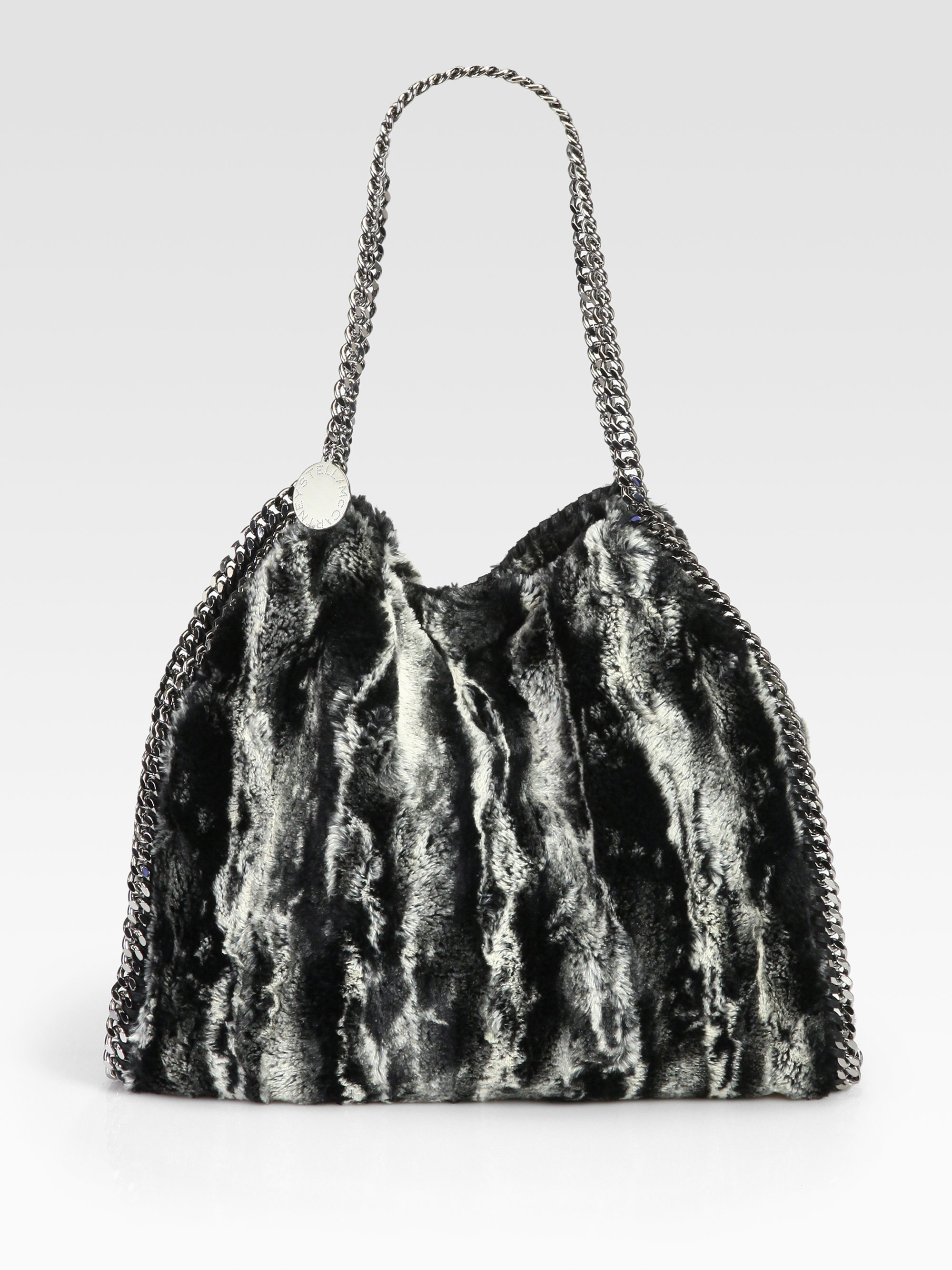 dc102f7b86 Lyst - Stella McCartney Falabella Faux Fur Shoulder Bag in Black