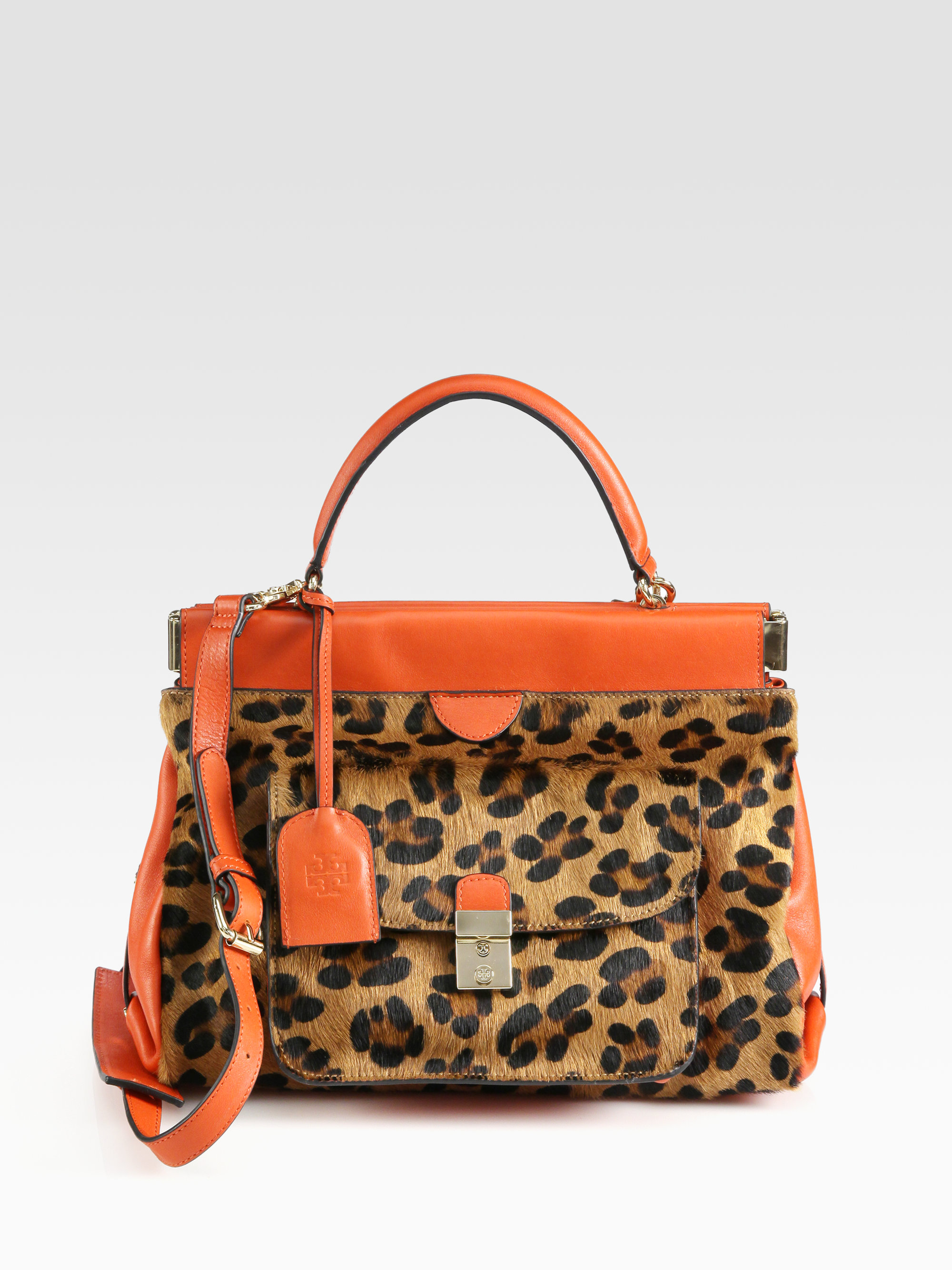 164ac786edfe Lyst - Tory Burch Priscilla Small Calf Hair Leather Satchel in Orange