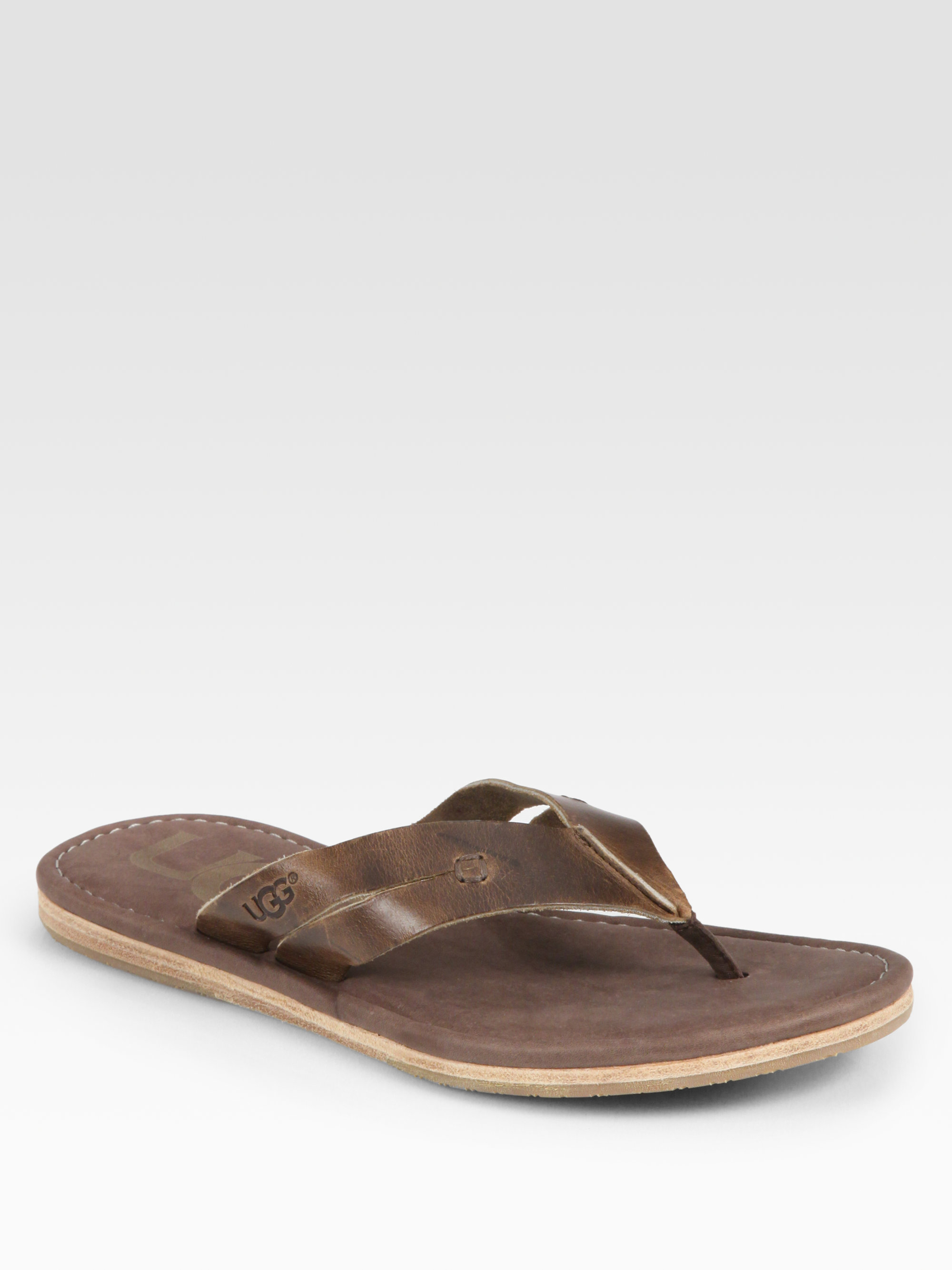 b778cbc96 Lyst - UGG Leather Thong Sandals in Brown for Men