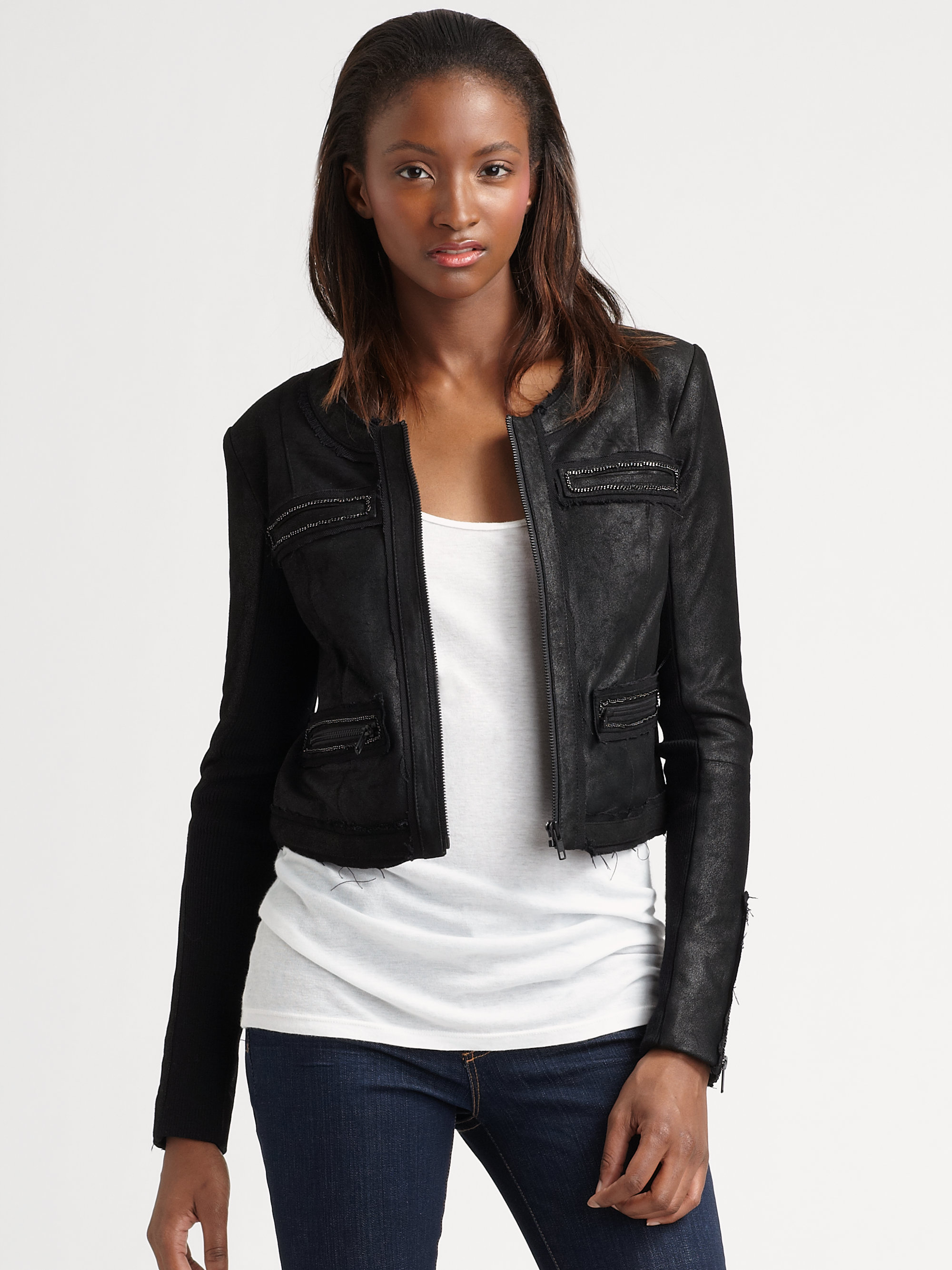 Veda Cropped Leather Jacket in Black | Lyst