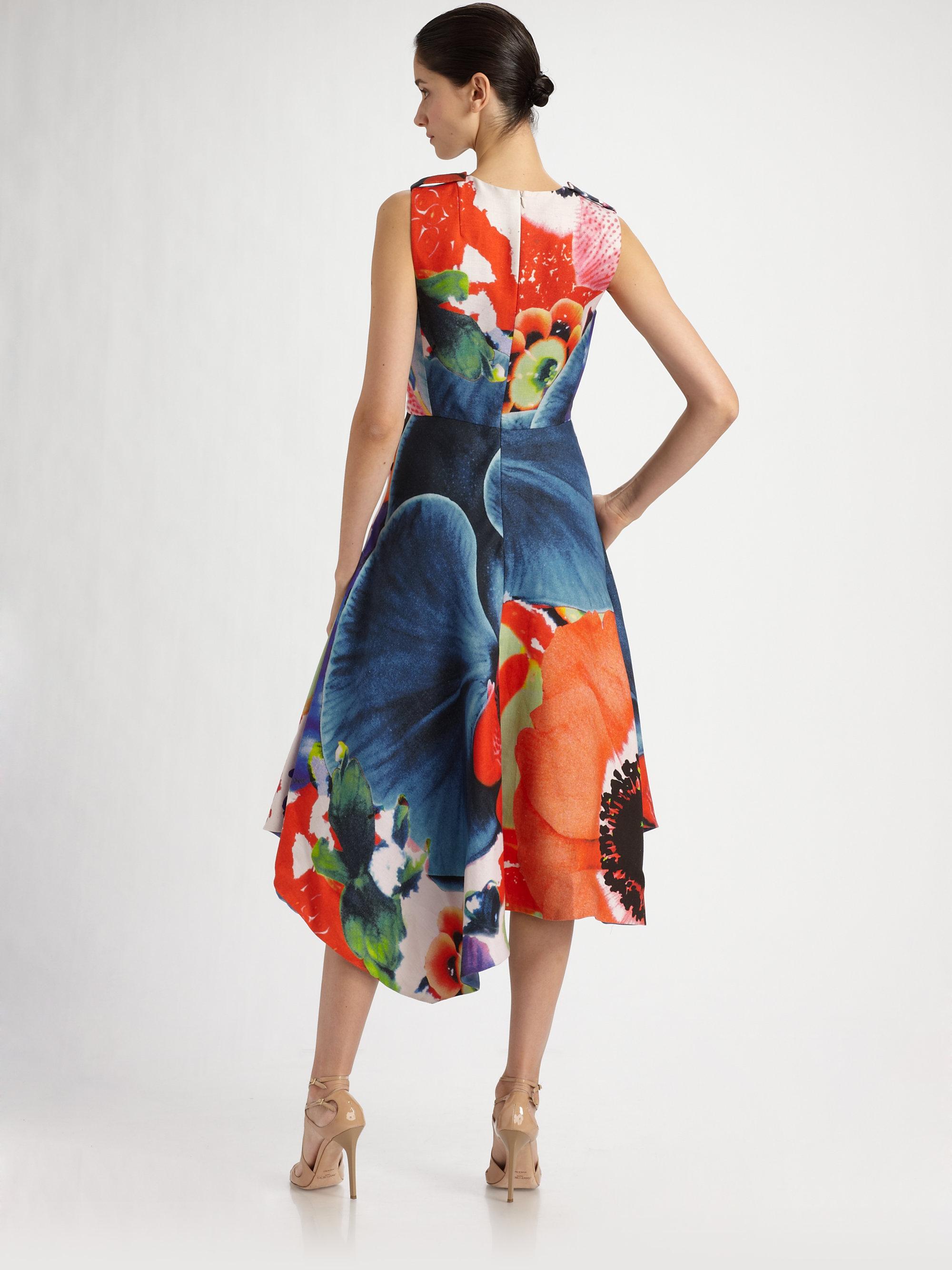 45cb9b10b1 Lyst - Akris Floral Linen Asymmetrical Dress