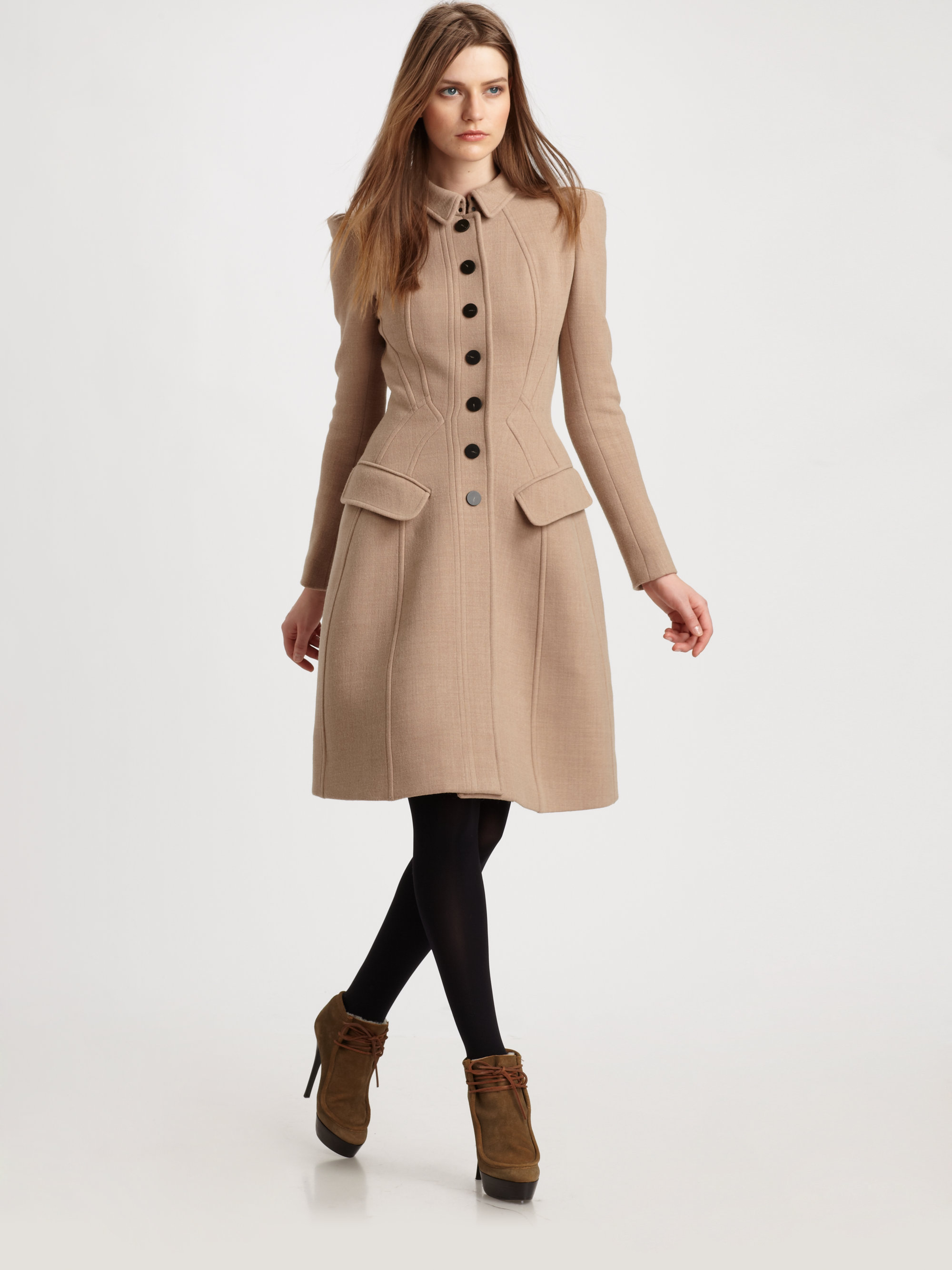 Burberry Prorsum Princess Coat In Natural Lyst