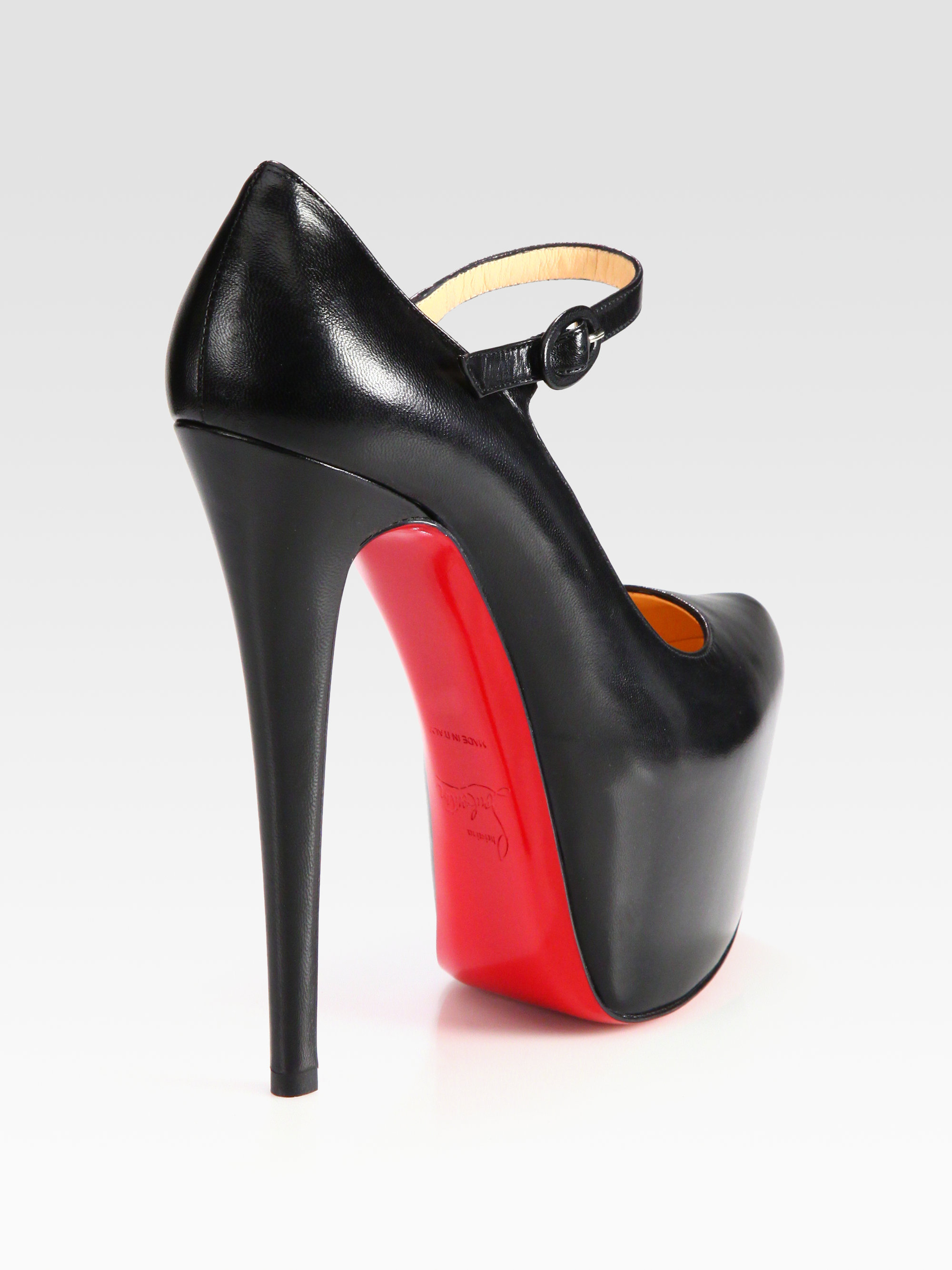 christian louboutin Trois-Strap Mary Jane pumps Black leather ...