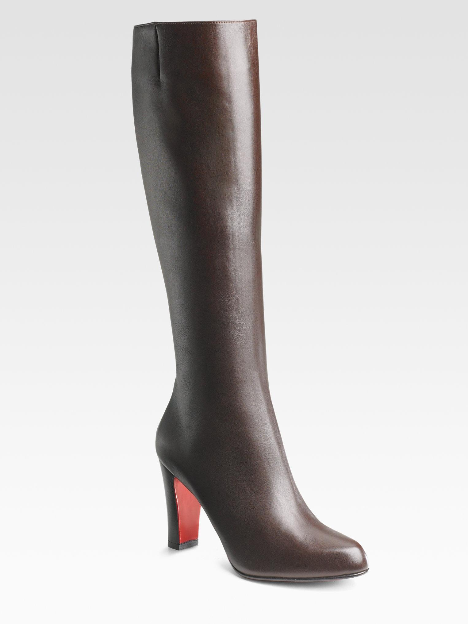 Artesur ? christian louboutin leather boots Brown silver-tone chain