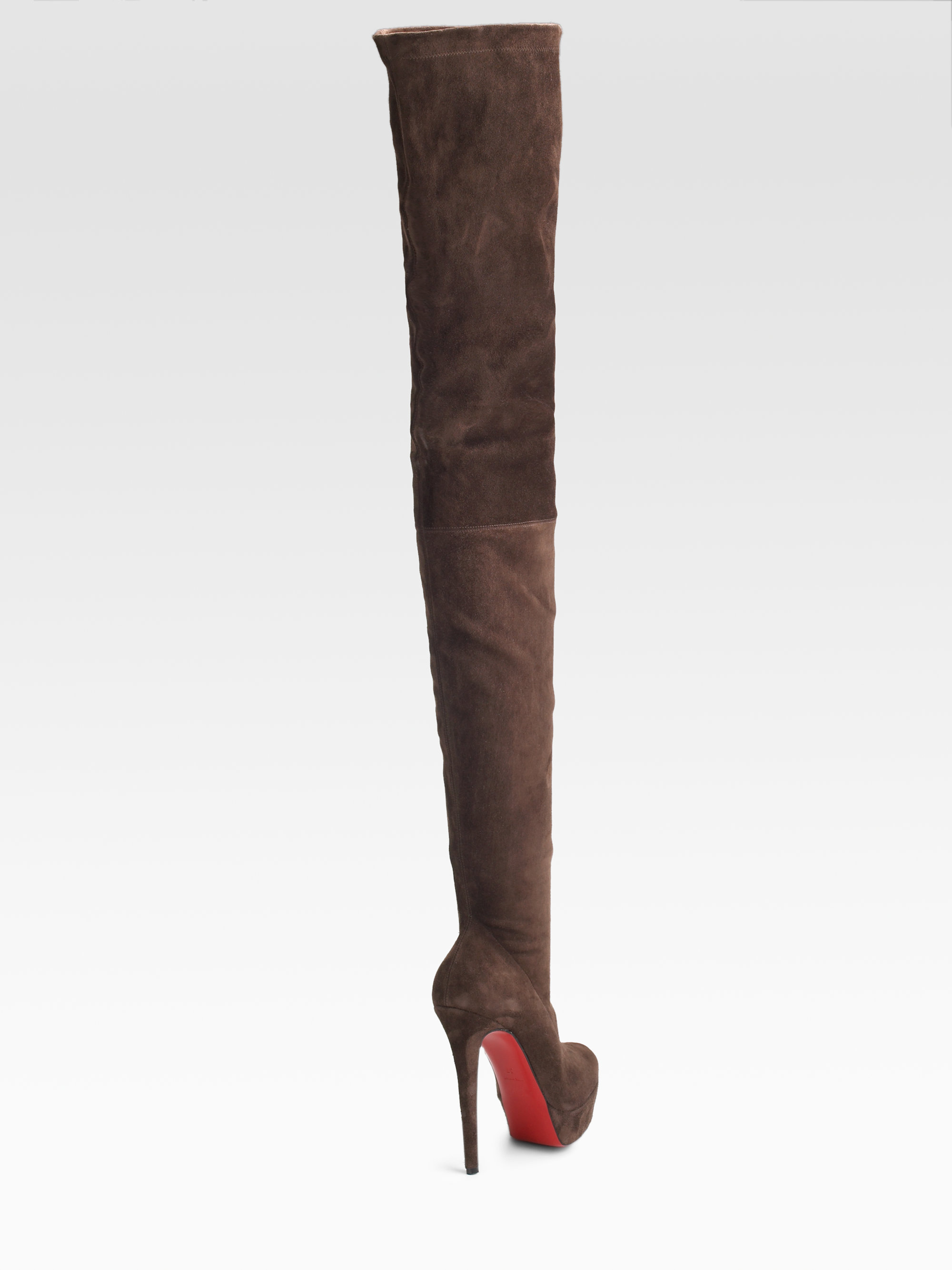46d5bf0107ea Lyst - Christian Louboutin Gazolina Suede Over-the-knee Boots in Brown