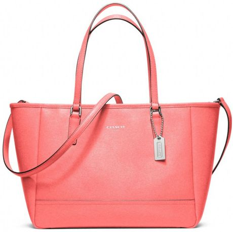Coach Saffiano Crossbody City Tote in Pink (silver/coral) - Lyst