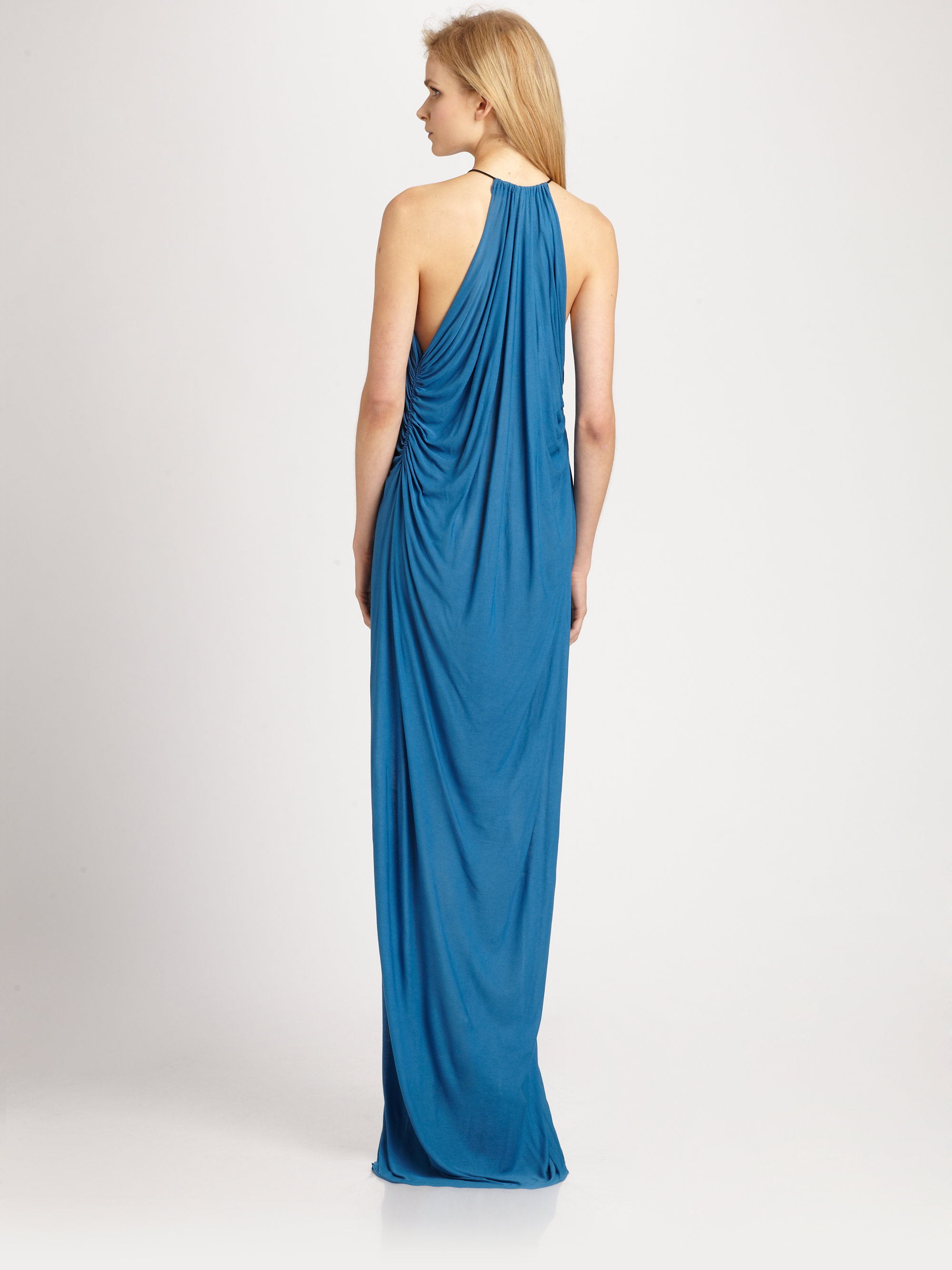 Lyst - Cut25 By Yigal Azrouël Shirred Jersey Knit Gown in Blue