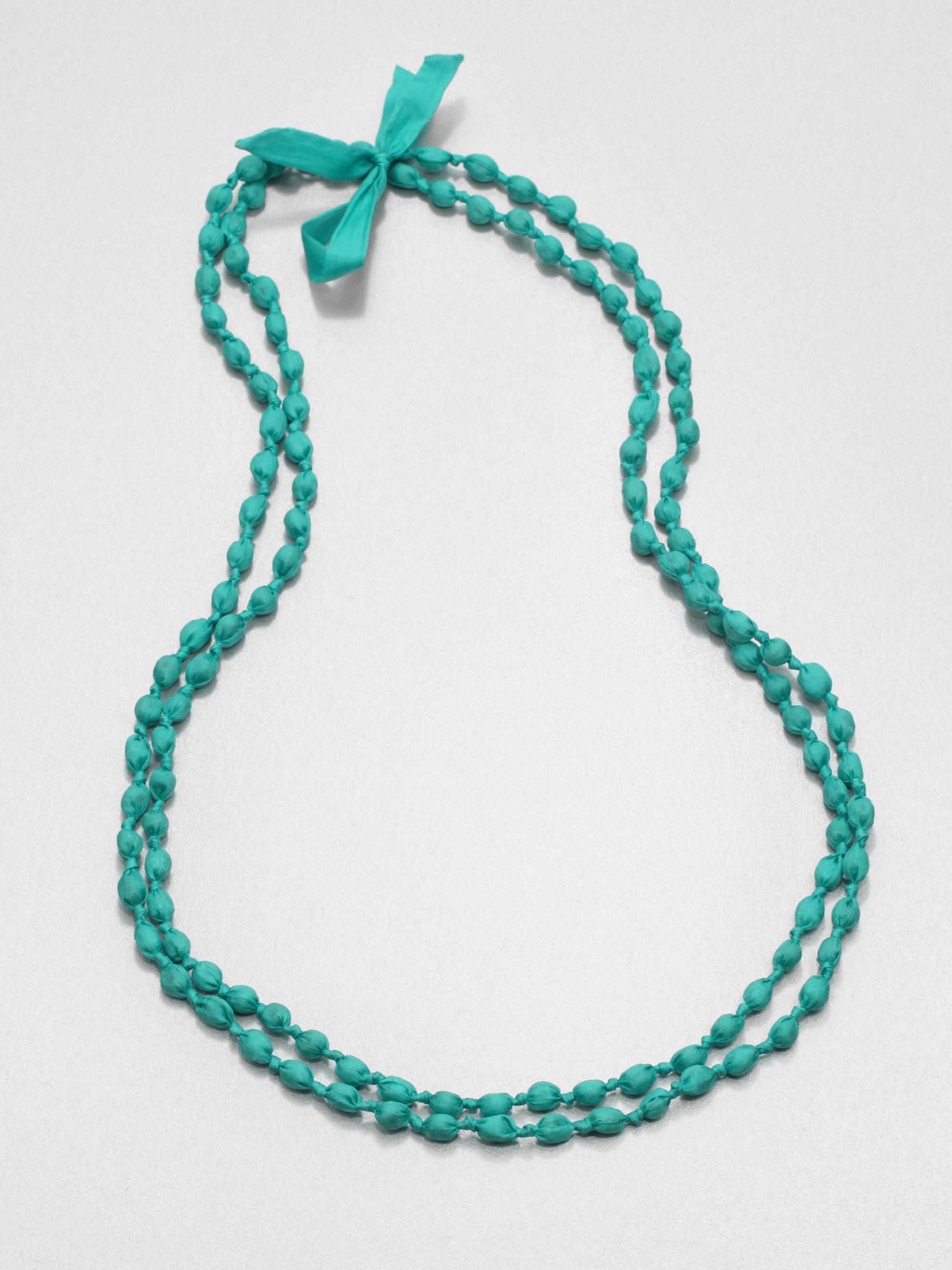 eileen fisher silk beaded necklace in green lyst