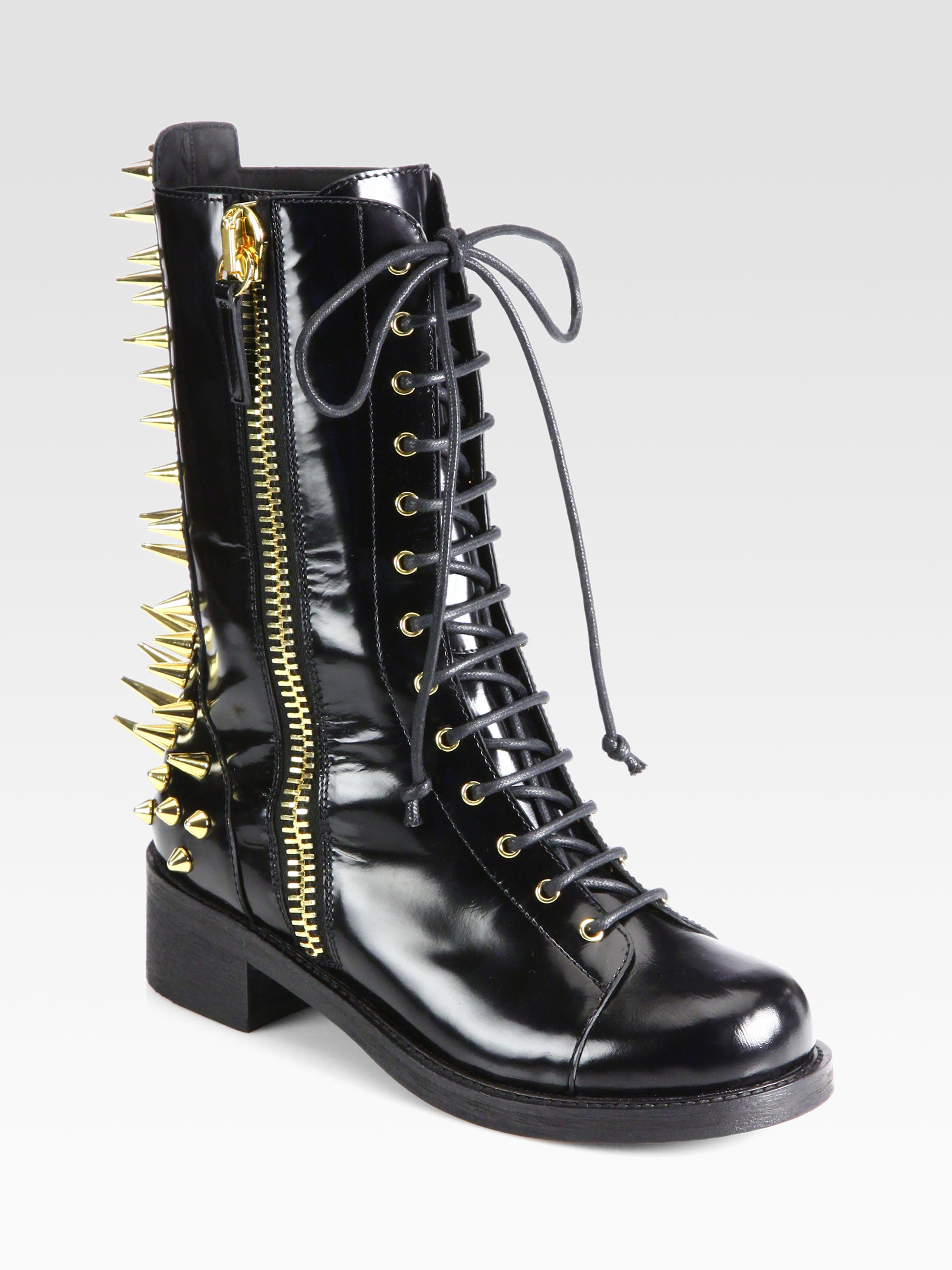 Lyst Giuseppe Zanotti Studded Leather Combat Boots In Black