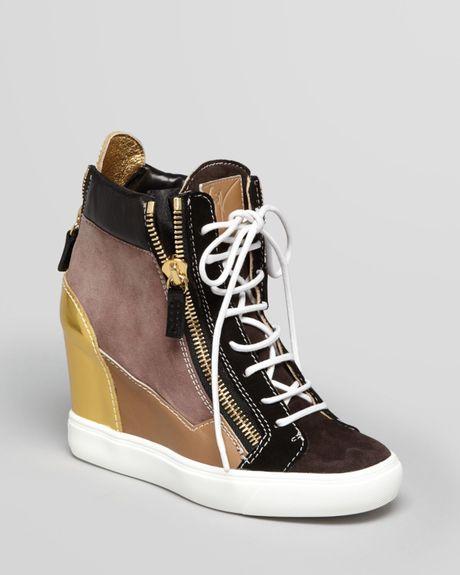 Giuseppe Zanotti Wedge Sneakers Lorenz in Brown (khaki) | Lyst