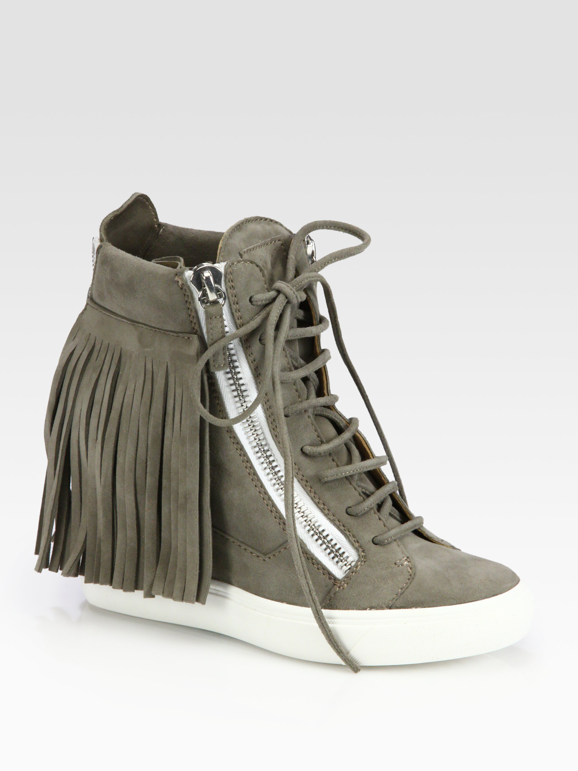 746a387c6294a Giuseppe Zanotti Suede Fringe Wedge Sneakers in Brown - Lyst