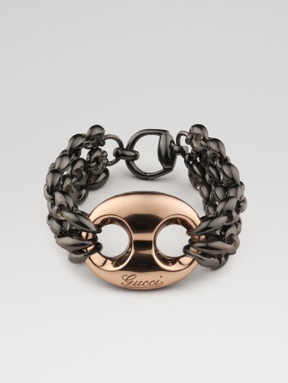 Lyst Gucci 18k Rose Gold Silver Bracelet In Gray