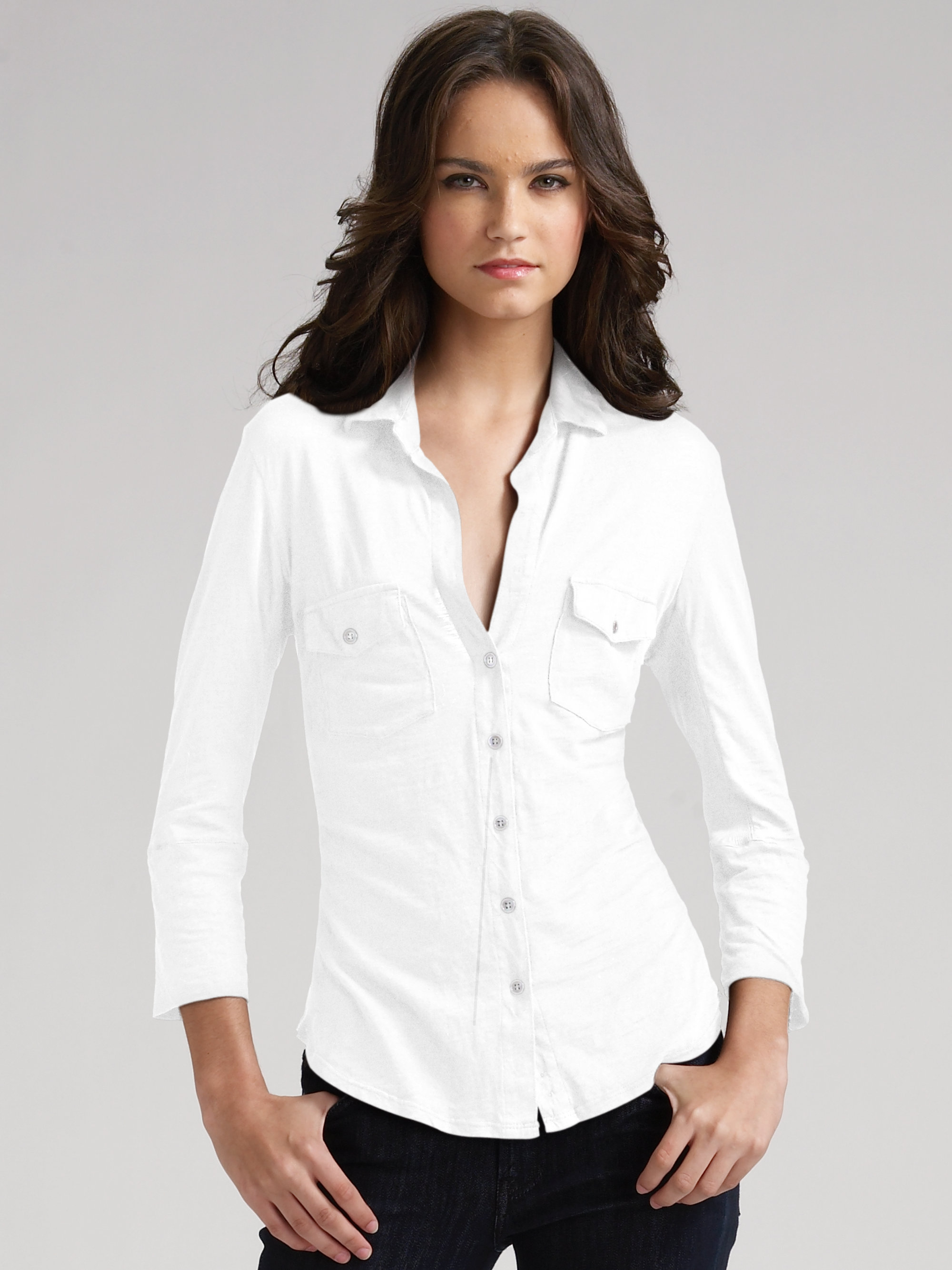 james perse button front shirt in white lyst