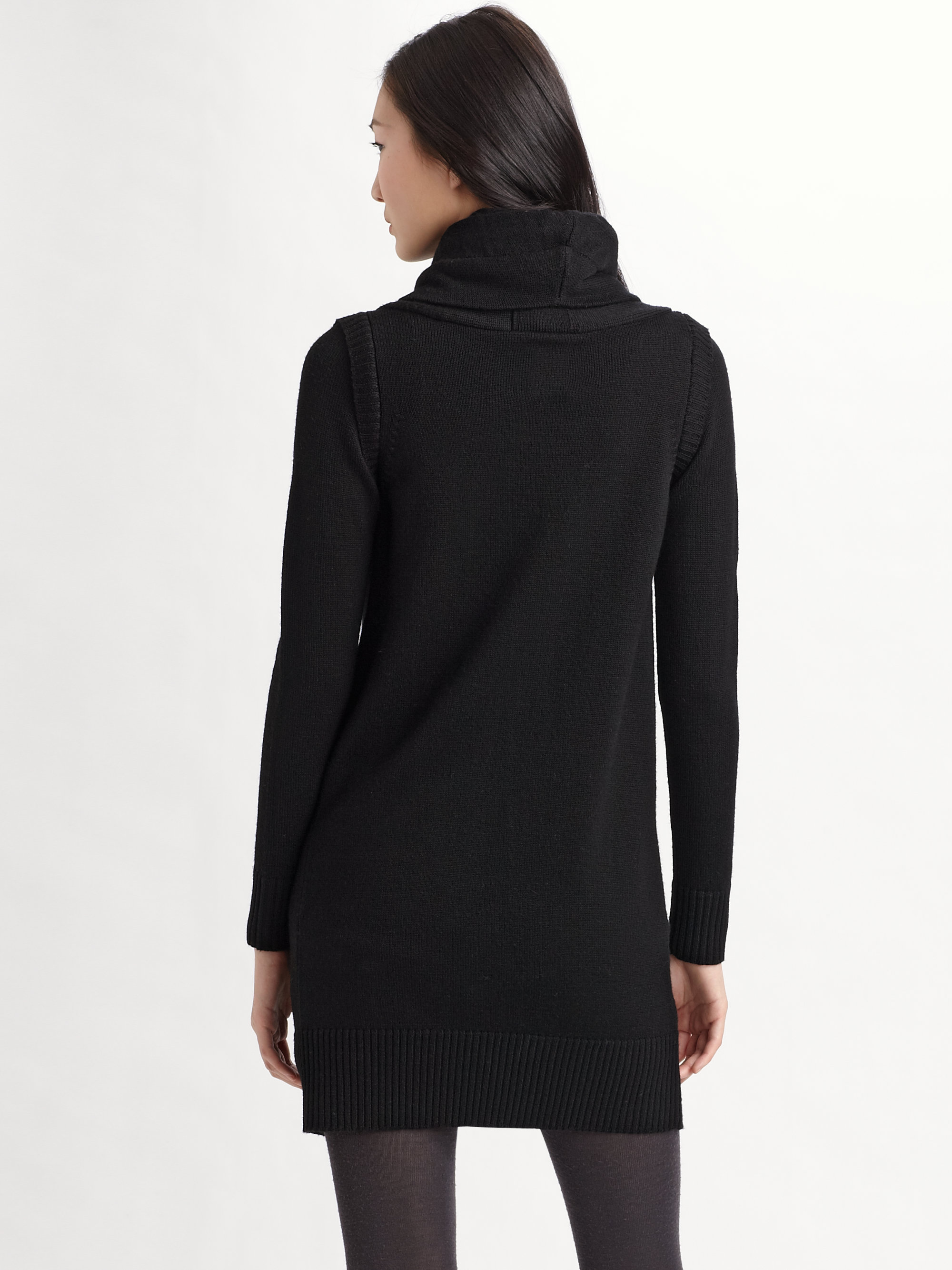 Jnby Wool Sweater Coat in Black | Lyst