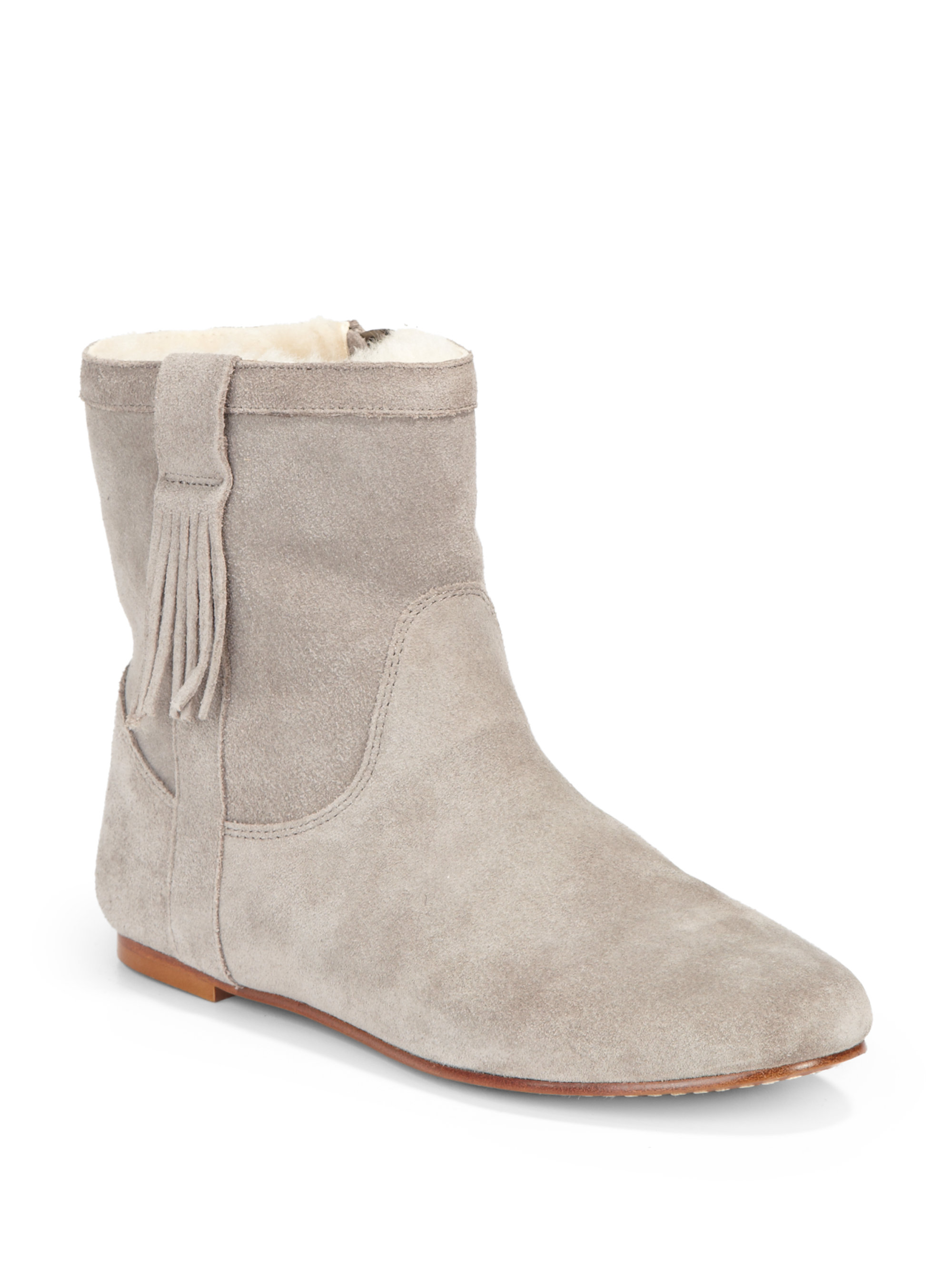Joie Moondance Suede Flat Ankle Boots in Gray | Lyst
