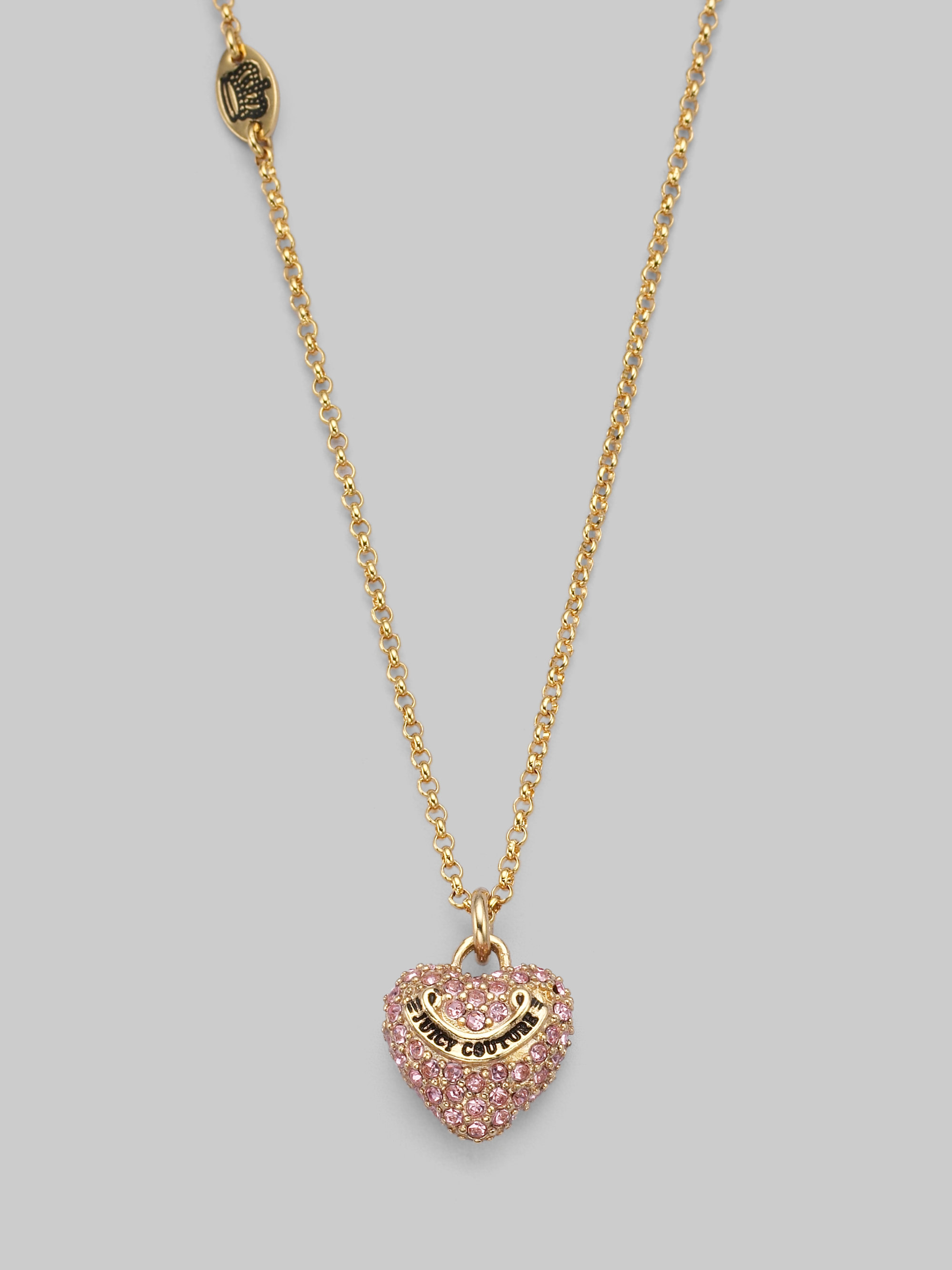 Juicy Couture Pink Pav 233 Puffed Heart Necklace In Pink Lyst