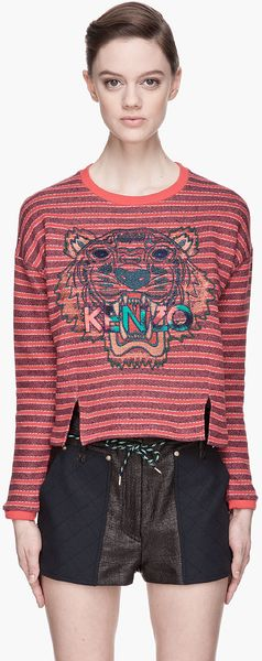 Kenzo Red Striped Logo Embroidered Sweatshirt - Lyst