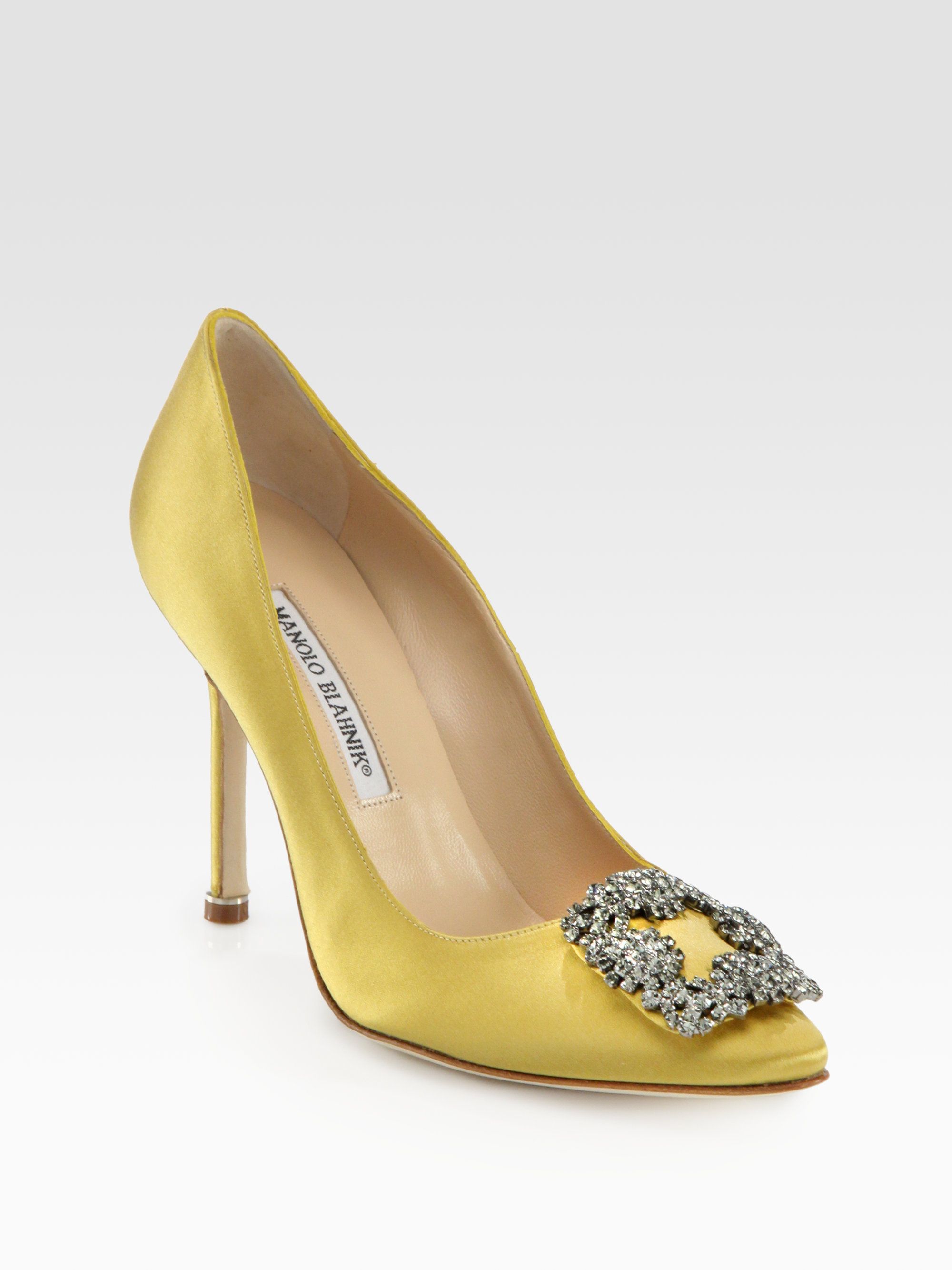 Manolo blahnik hangisi 105 satin pumps in yellow lyst for Shoes by manolo blahnik