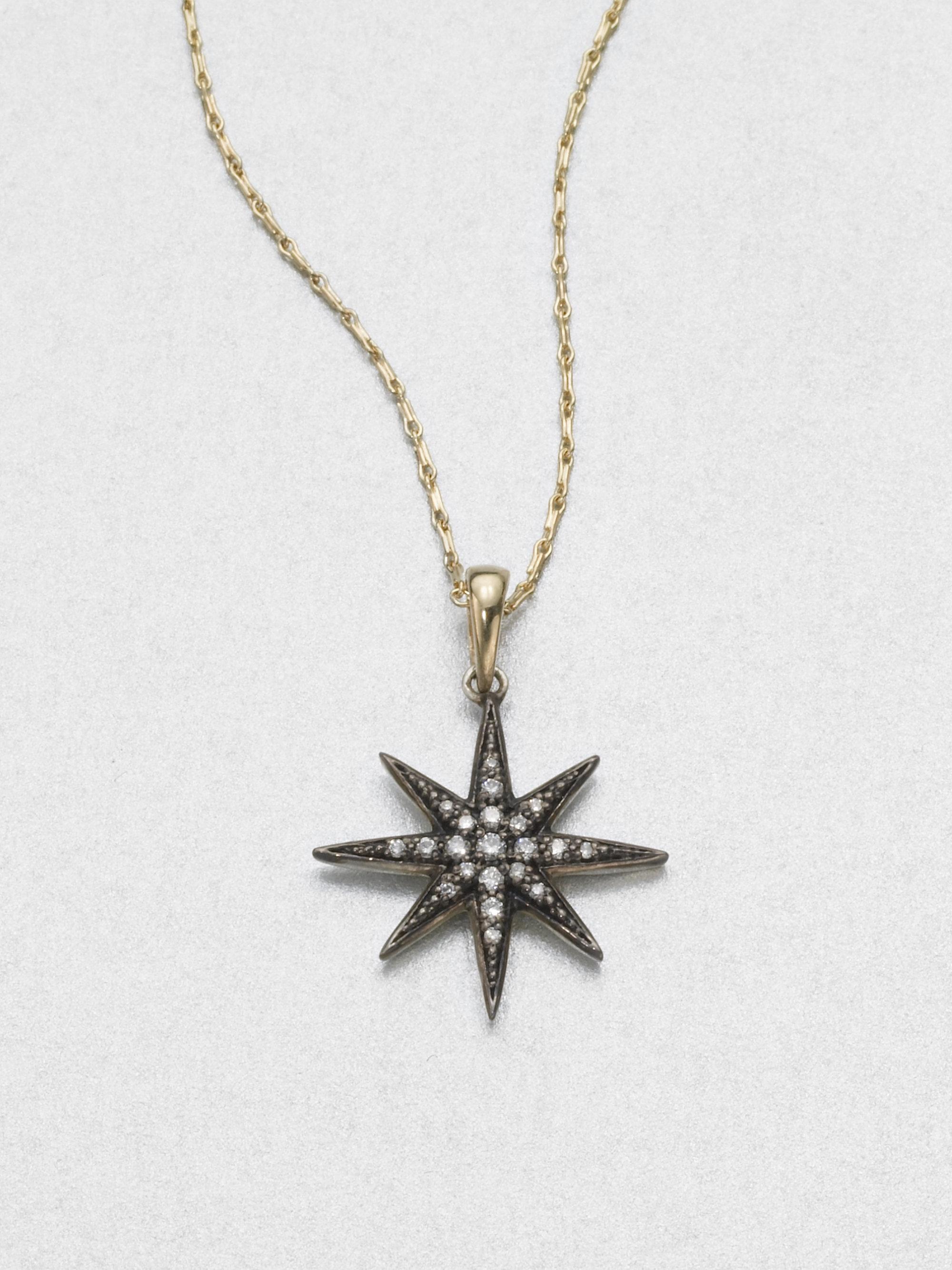 Mizuki Diamond Sterling Silver 14k Yellow Gold Starburst Necklace
