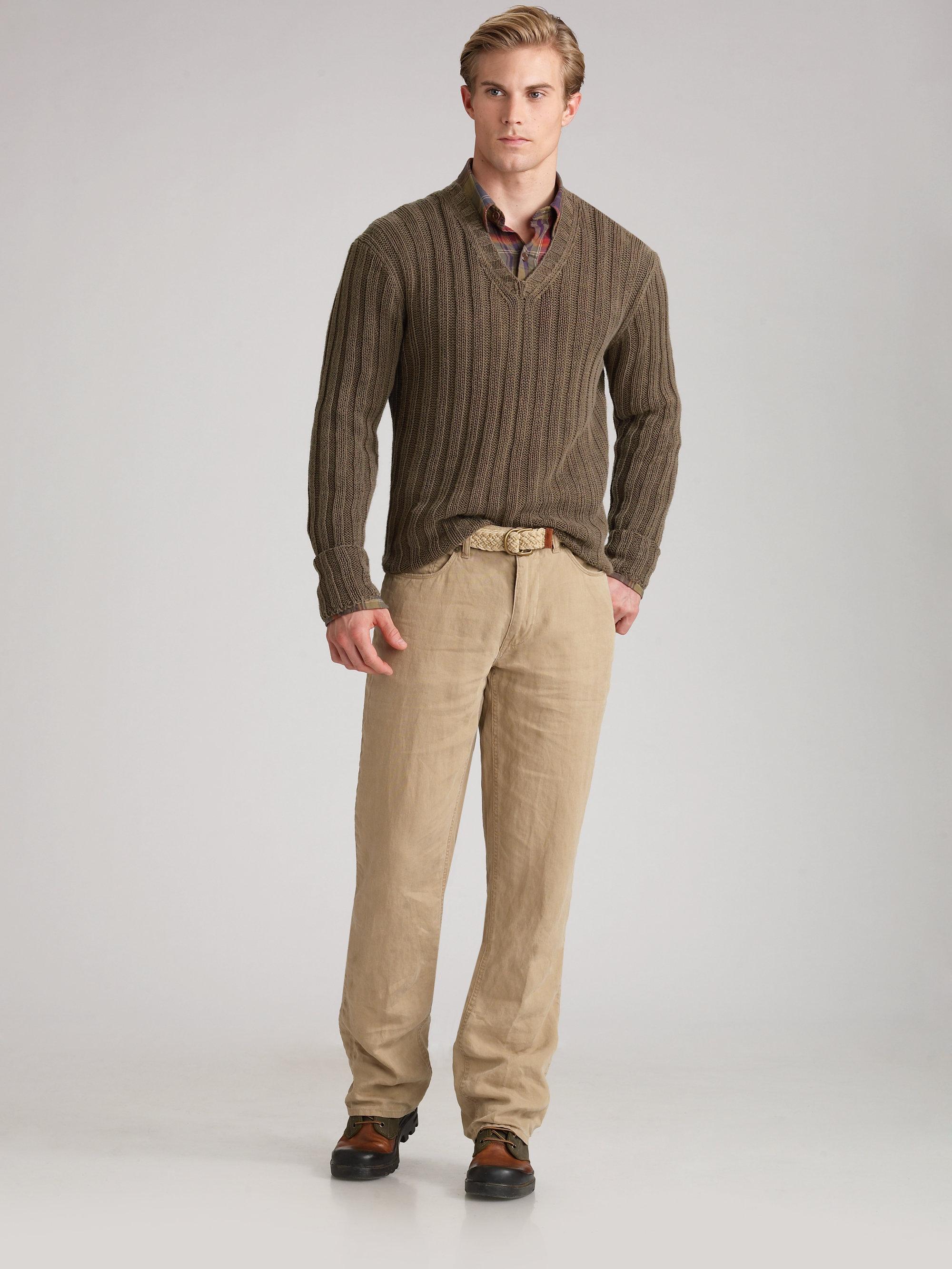 Polo ralph lauren Linen Pants in Natural for Men   Lyst
