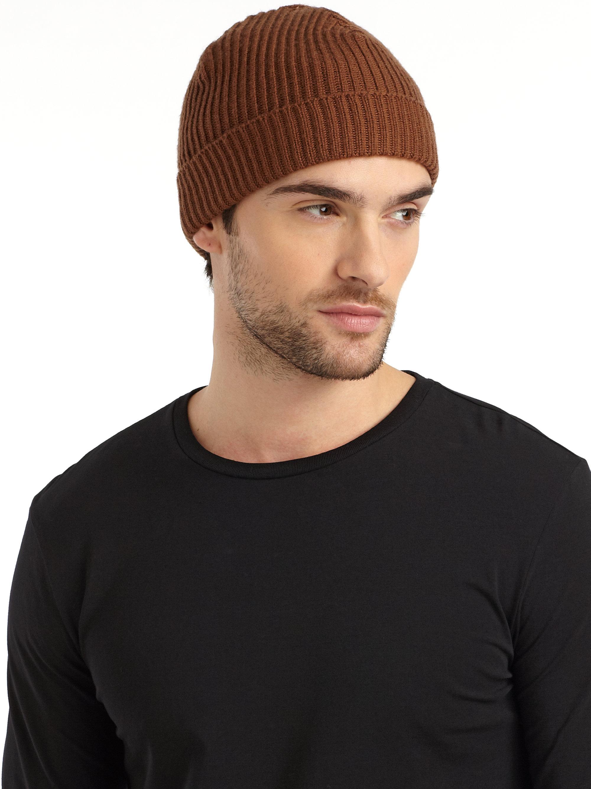 Lyst - Portolano Italian Merino Wool Ribbed Hat-toast in Brown for Men 782c707ae1b5
