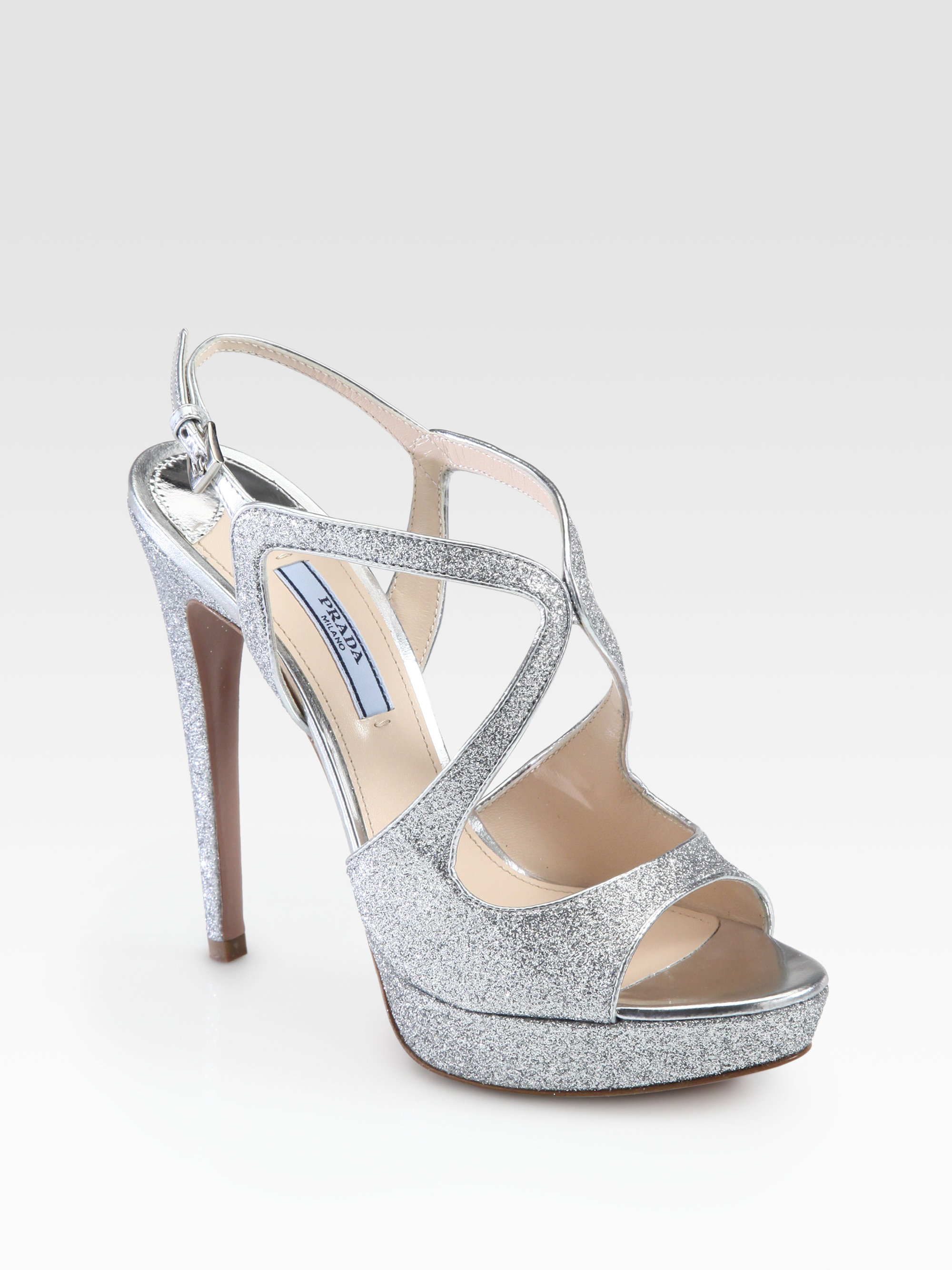 75f491ad997 Lyst - Prada Glitter Strappy Platform Sandals in Metallic