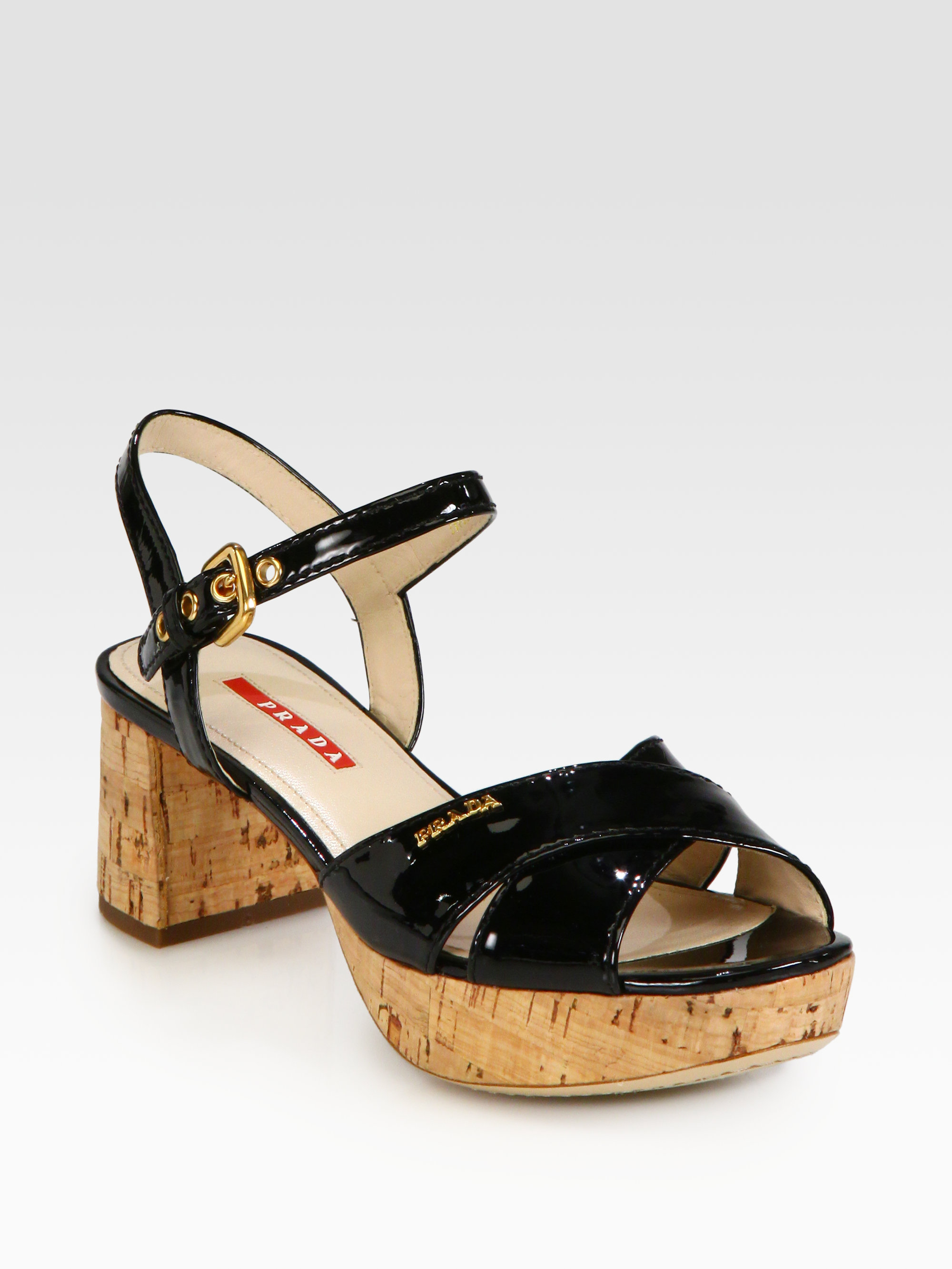 Lyst Prada Crisscross Patent Leather Cork Heel Sandals