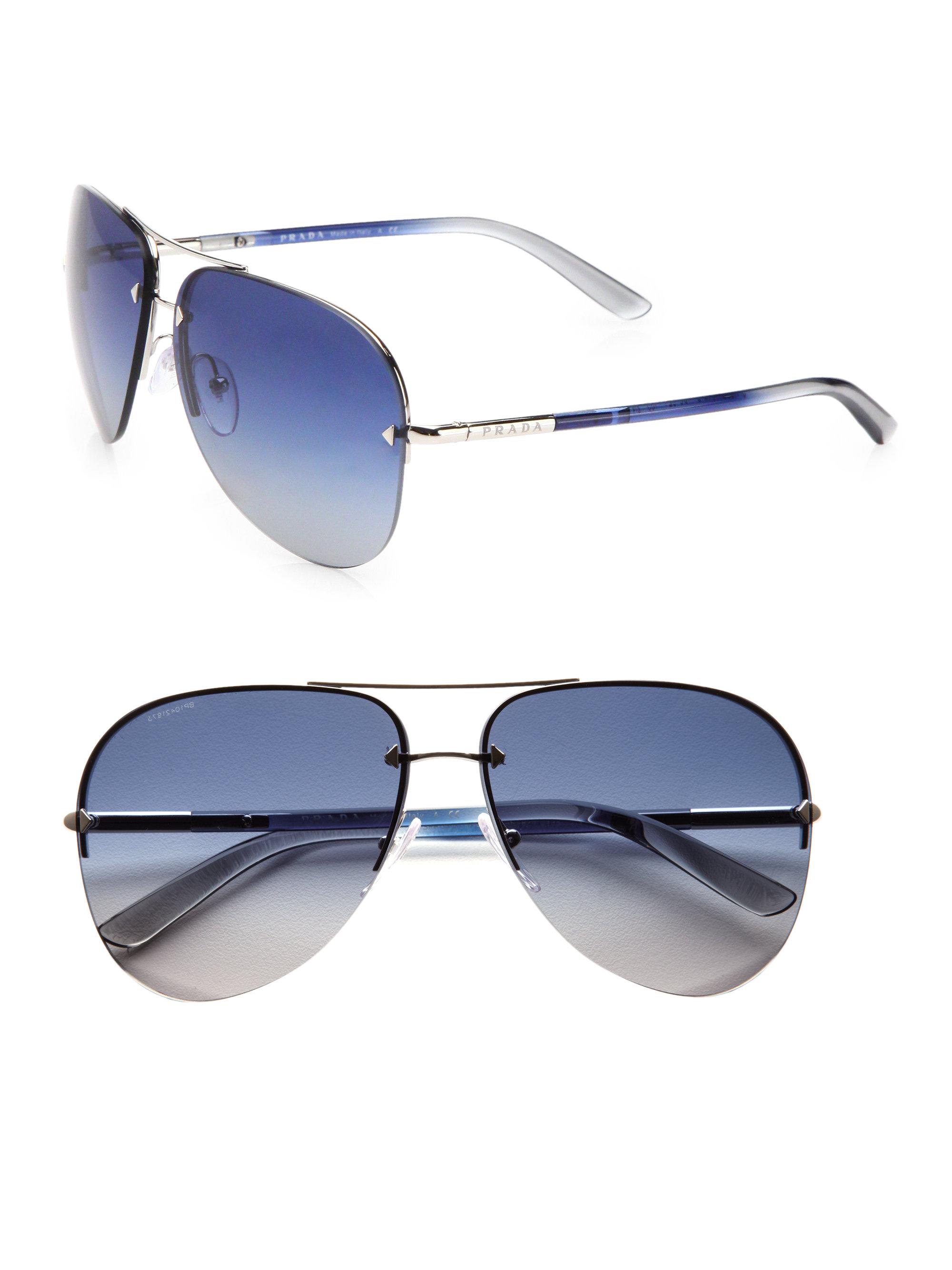 9a0f36be4a78 ... inexpensive lyst prada tubular aviator sunglasses in metallic for men  c6cd0 2895a