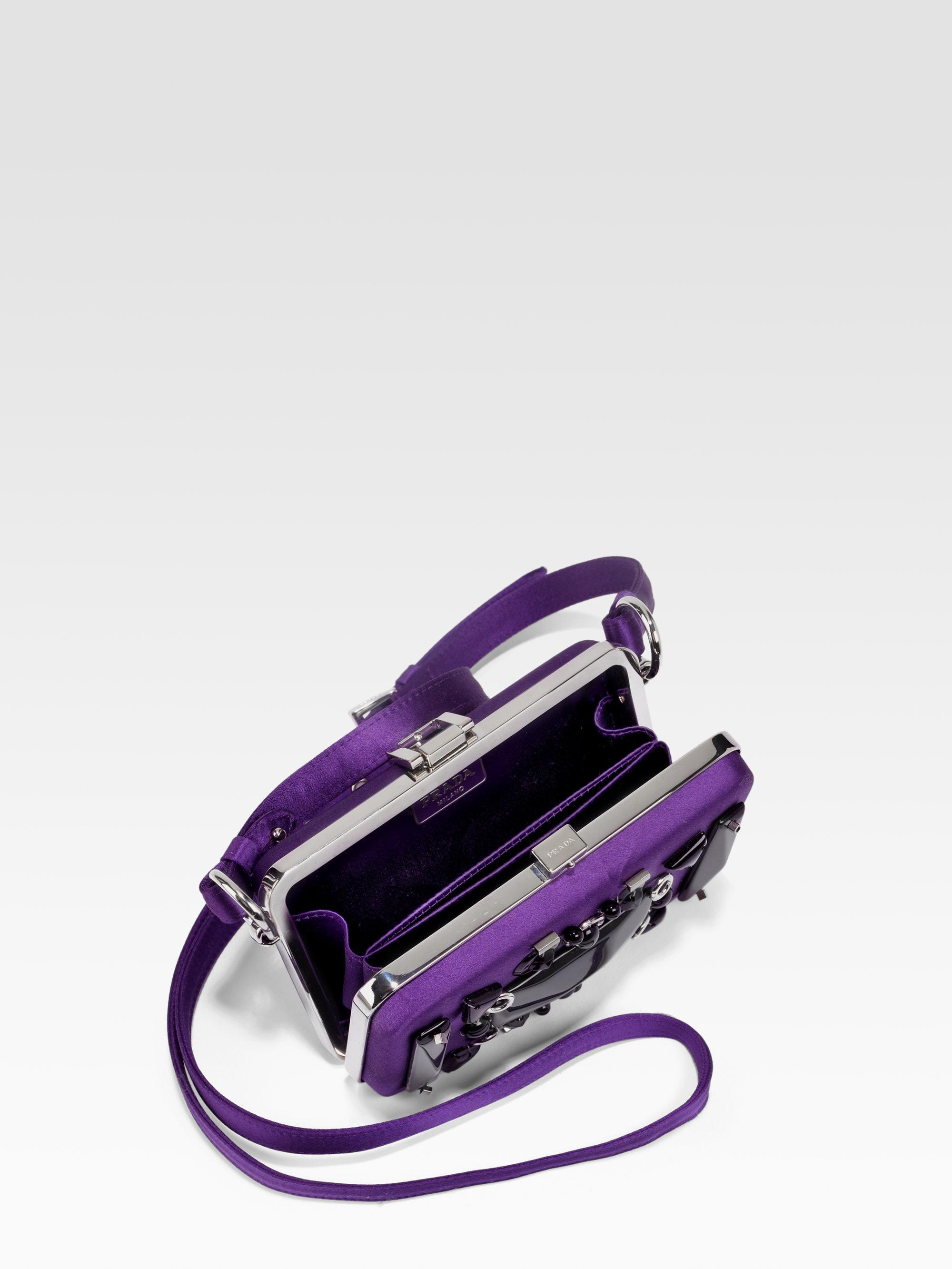 prada bags for sale - Prada Raso Ricamo Satin Box Clutch in Purple (violet) | Lyst