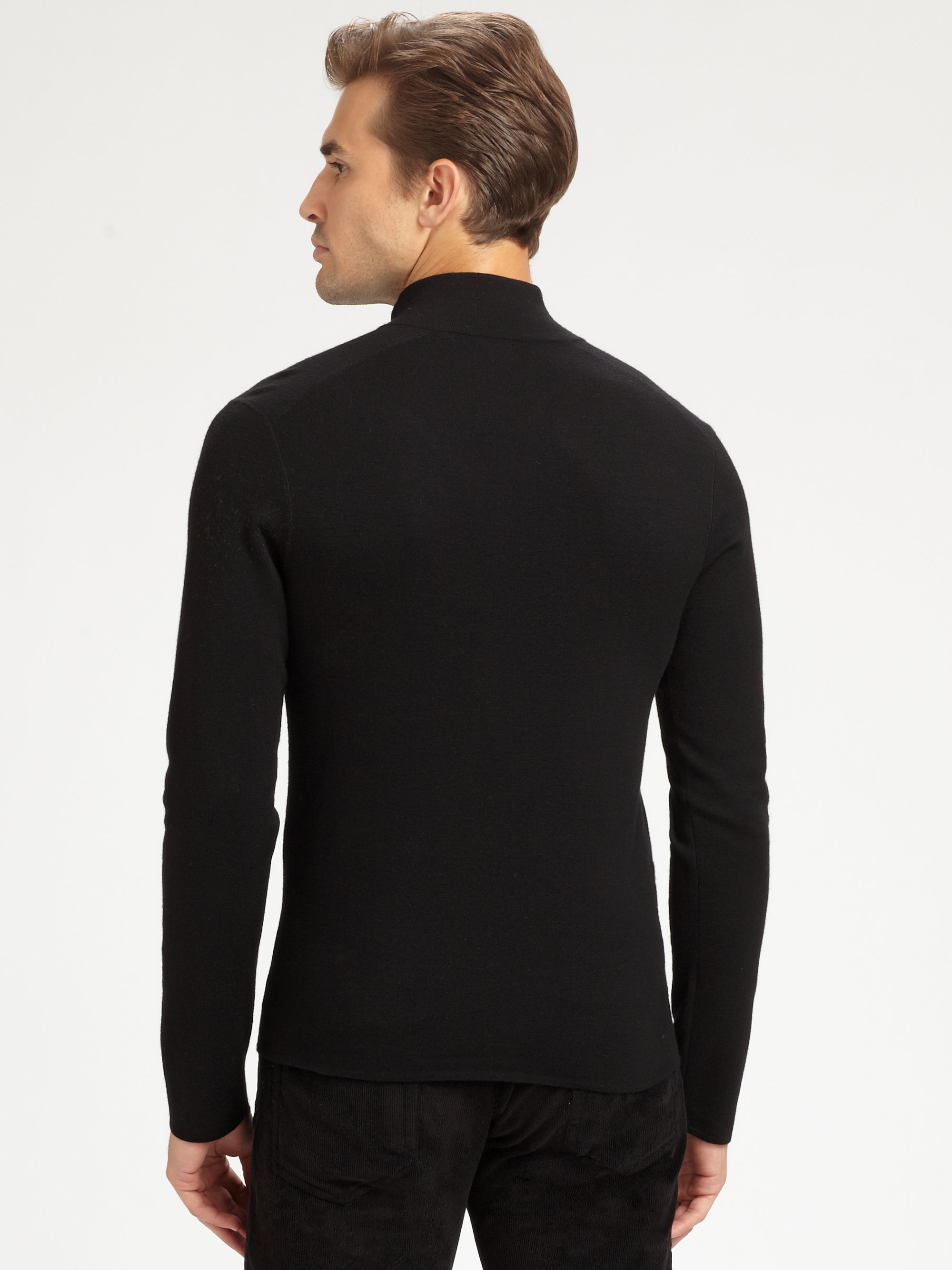 Ralph lauren black label Fullzip Merino Wool Sweater in Black for ...